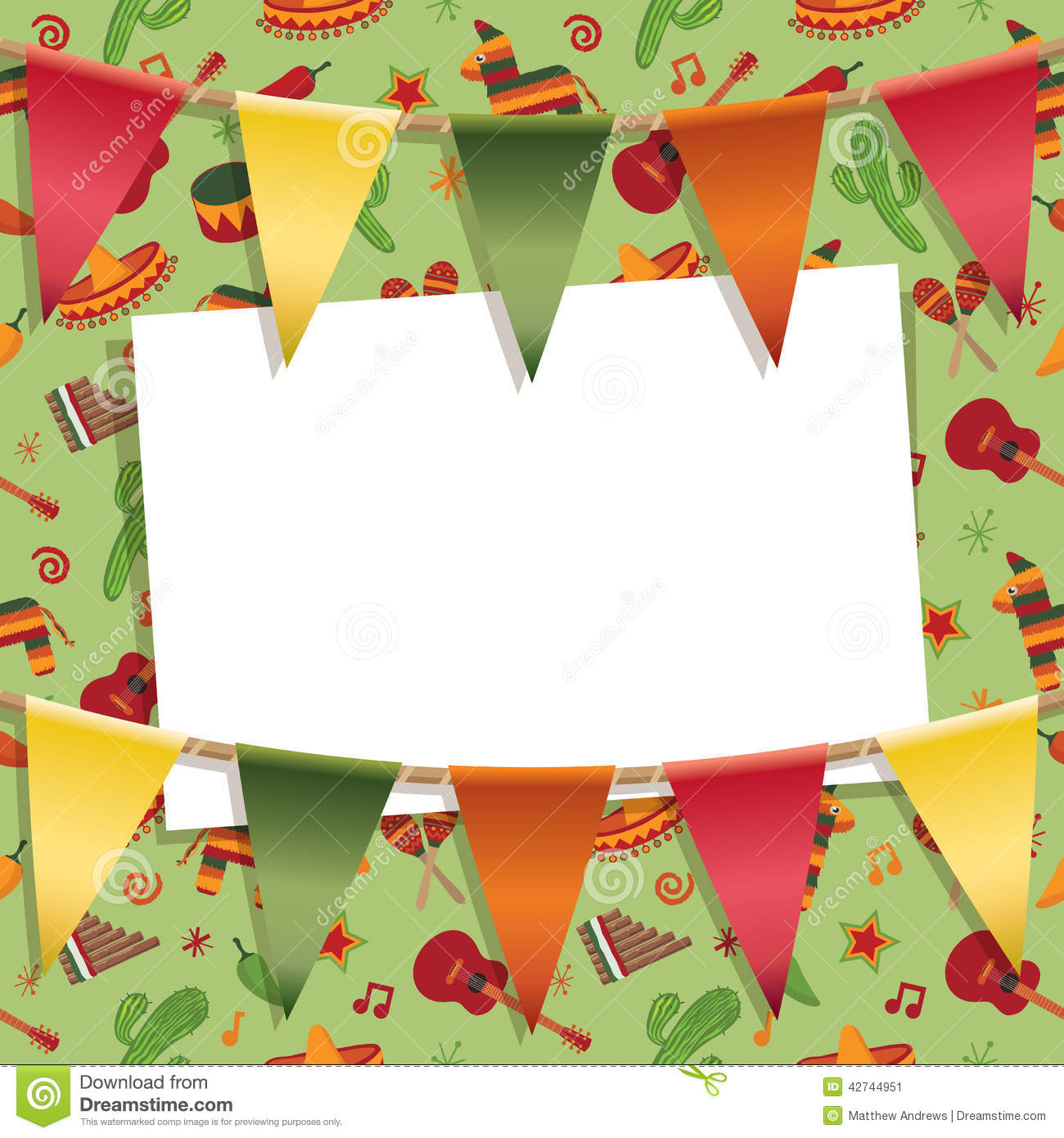 Mexican party card decoration with background pattern, bunting and ...