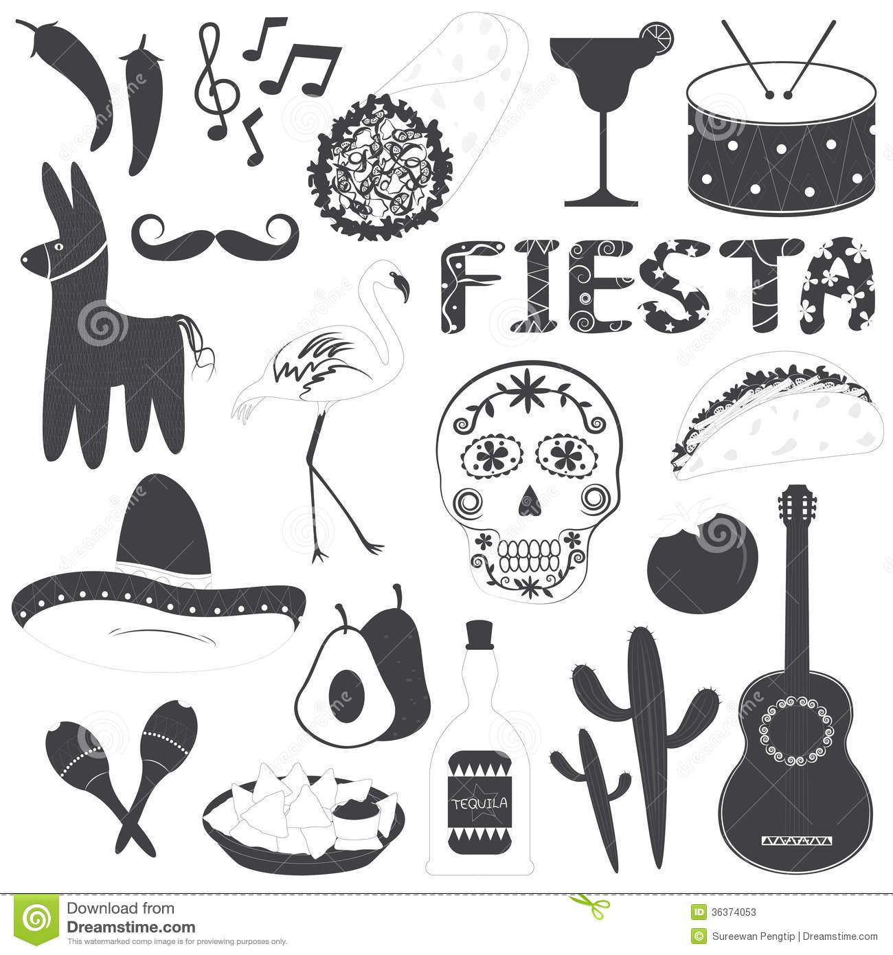 Party decorations mexican fiesta party and mexican fiesta decorations - Mexican Party Icons Vector Illustrations Set Stock Photos