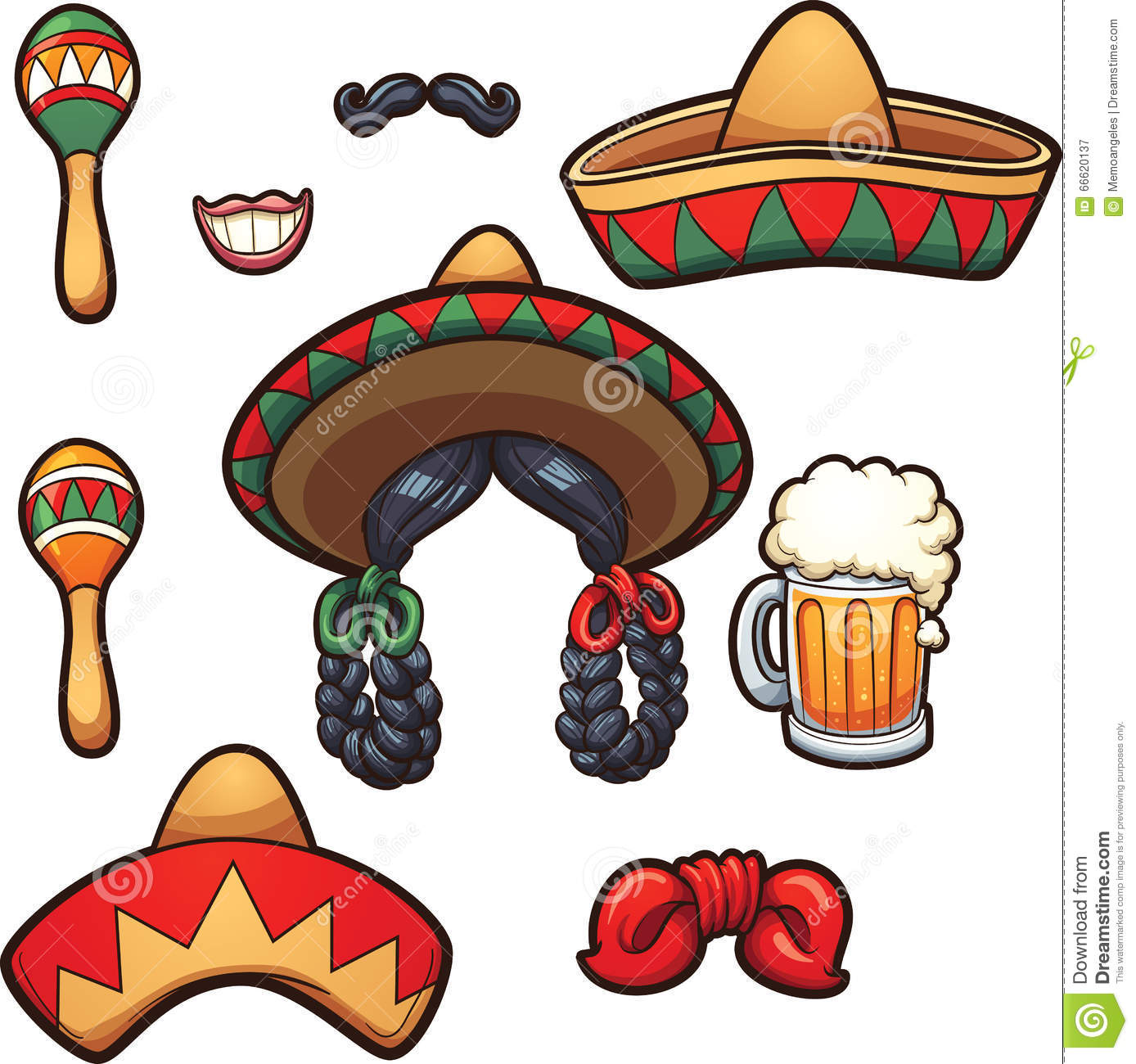 mexican party props stock vector illustration of gradient 66620137