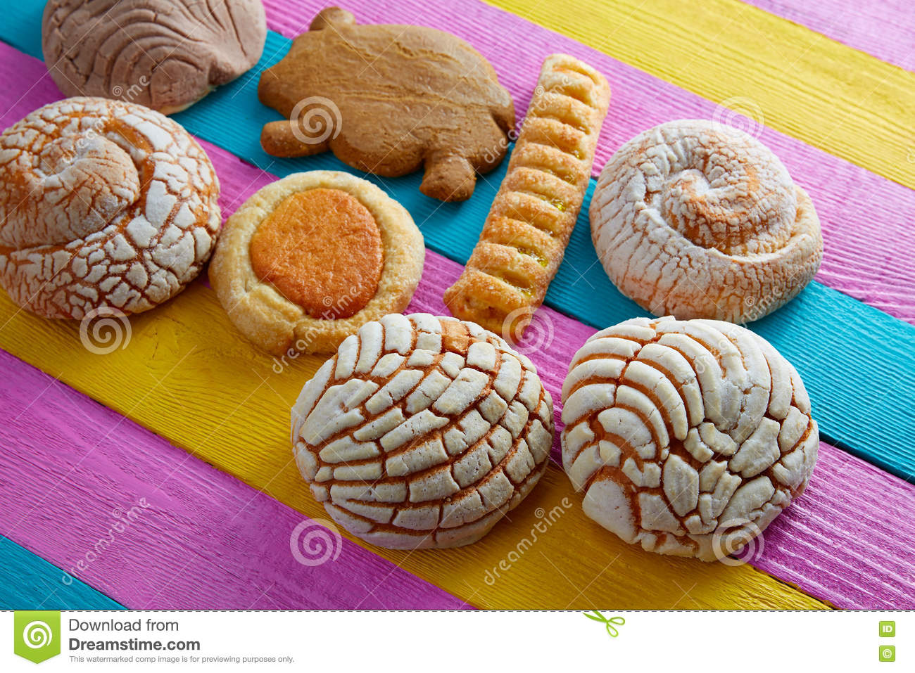 Mexican Pastries Concha Puerquito Ojo Buey Stock Photo Image Of