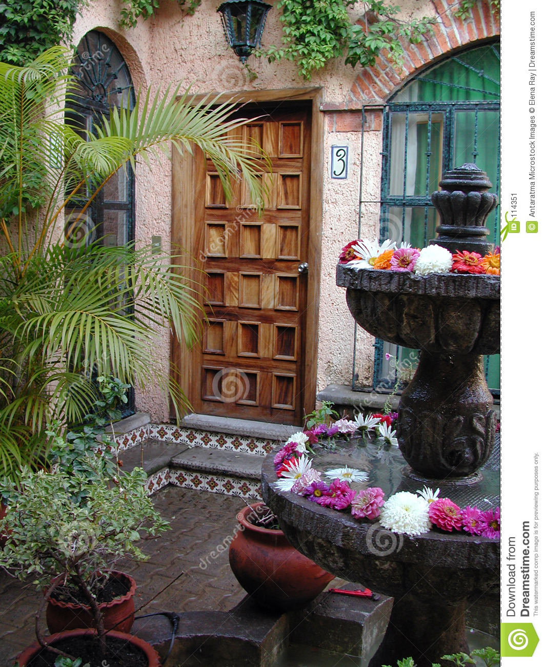 Entry Flowers Fountain Mexican Mexico Patio ...