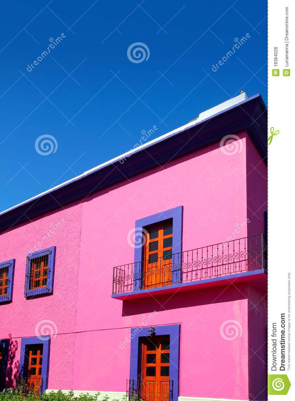 Mexican Pink House Facade Wooden Doors Royalty Free Stock
