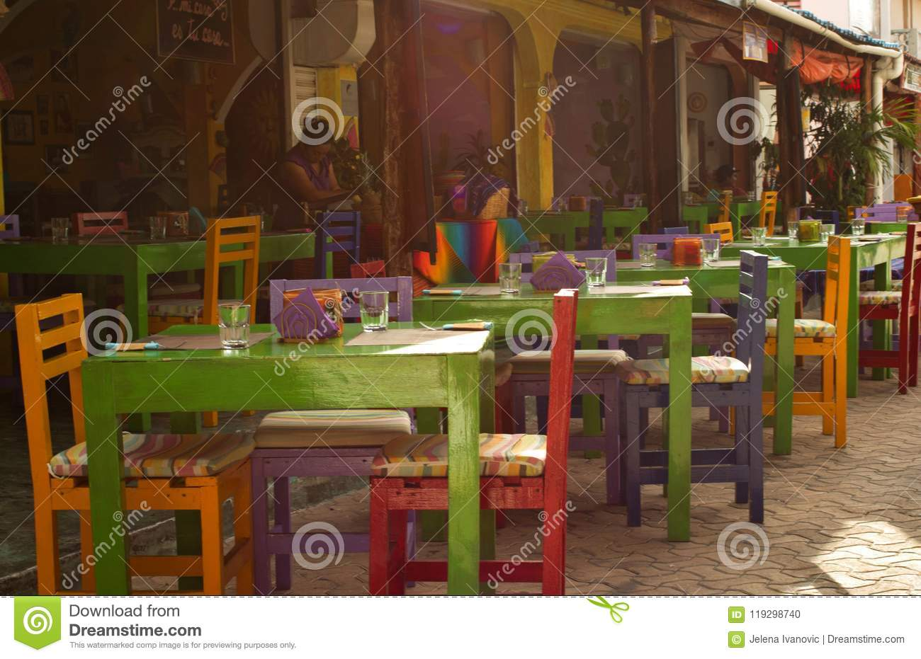 Mexican Restaurant With Colourful Chairs, A Typical Mexican Style
