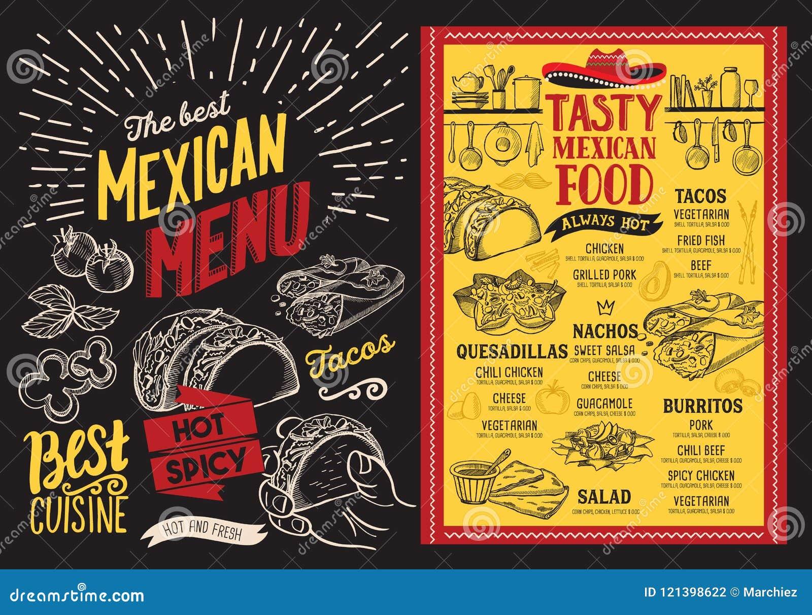 mexican restaurant menu on blackboard background. vector food fl