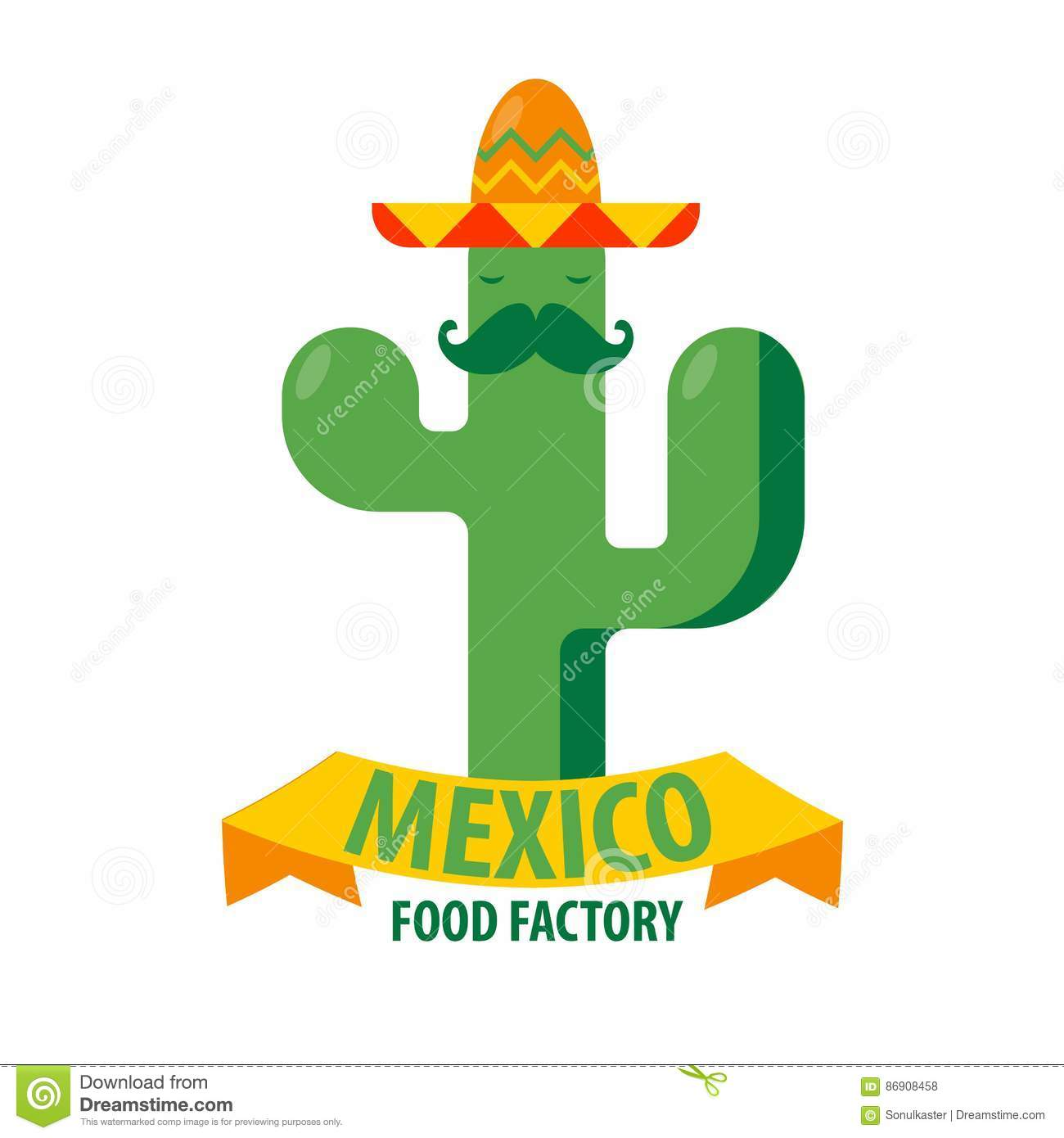 Mexican restaurant vector icon template of cactus in for Mexican logos images