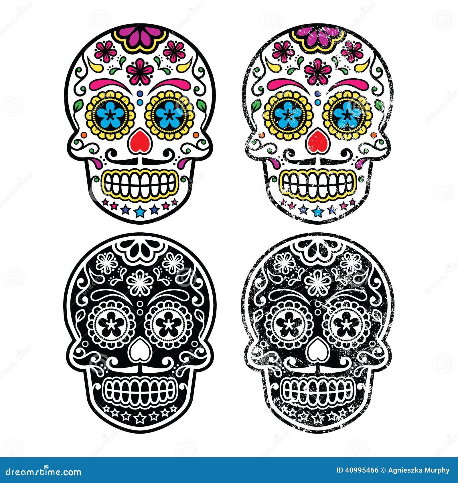 Mexican Retro Sugar Skull Dia De Los Muertos Icons Set Stock