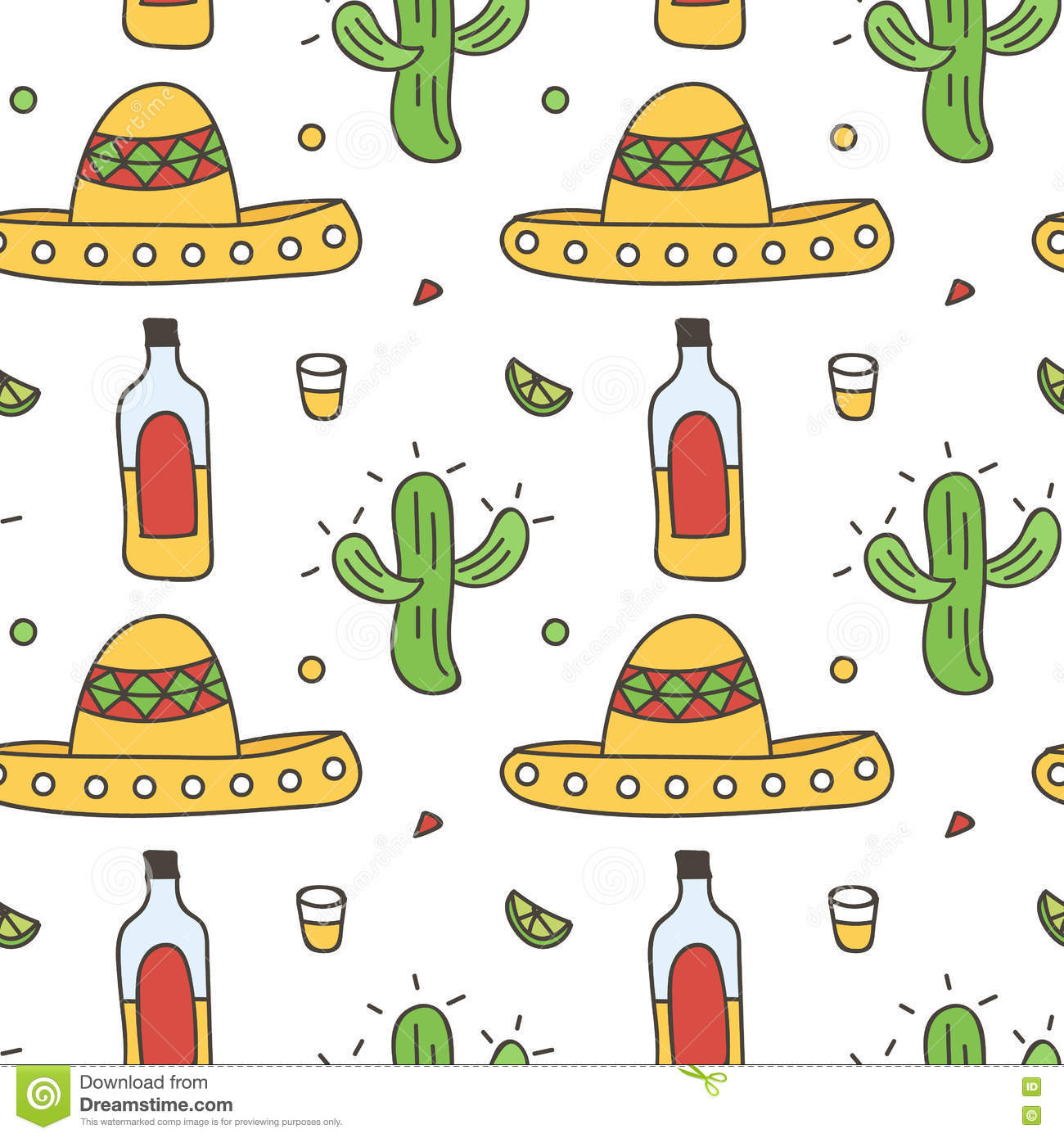 Mexican Seamless Pattern Background With Sombrero 176aed35642