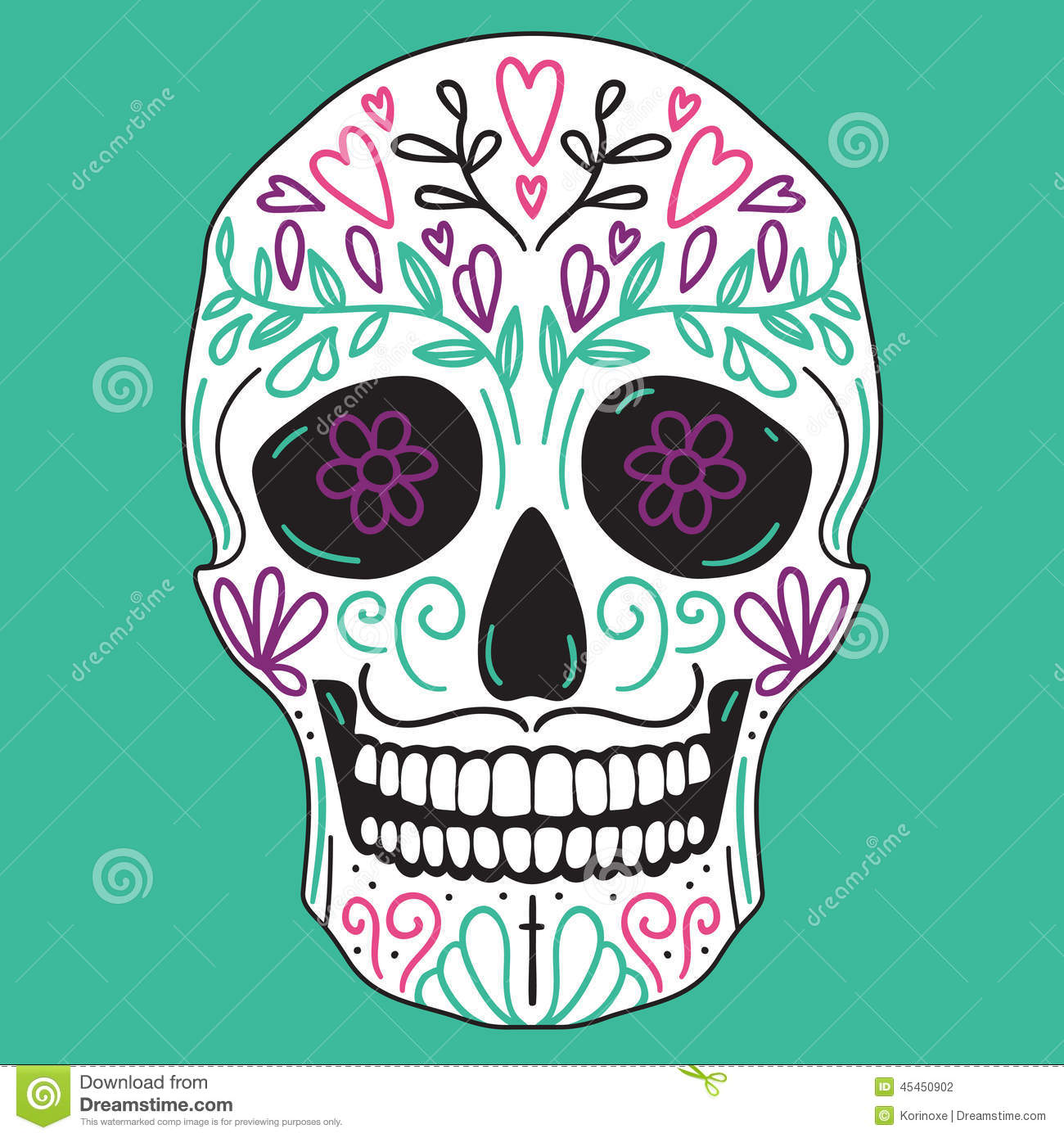 Mexican vector simple white sugar skull with floral decoration on ...