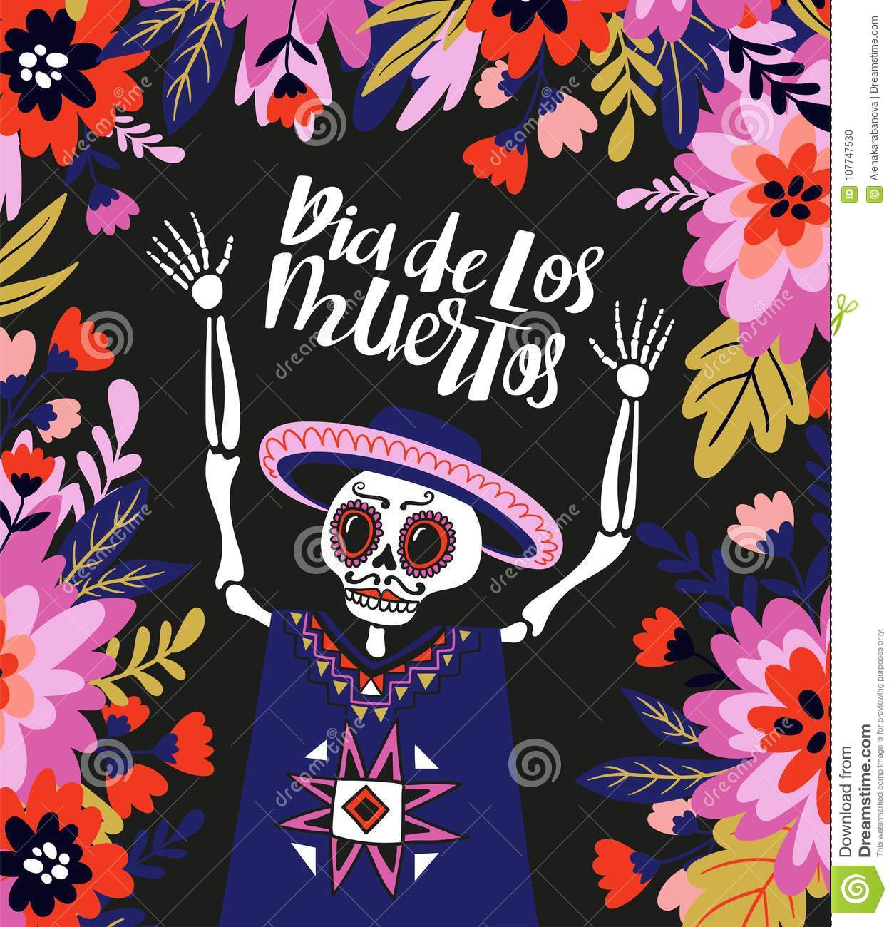 Mexican Skeleton In The Floral Frame With Lettering. Vector Holiday ...