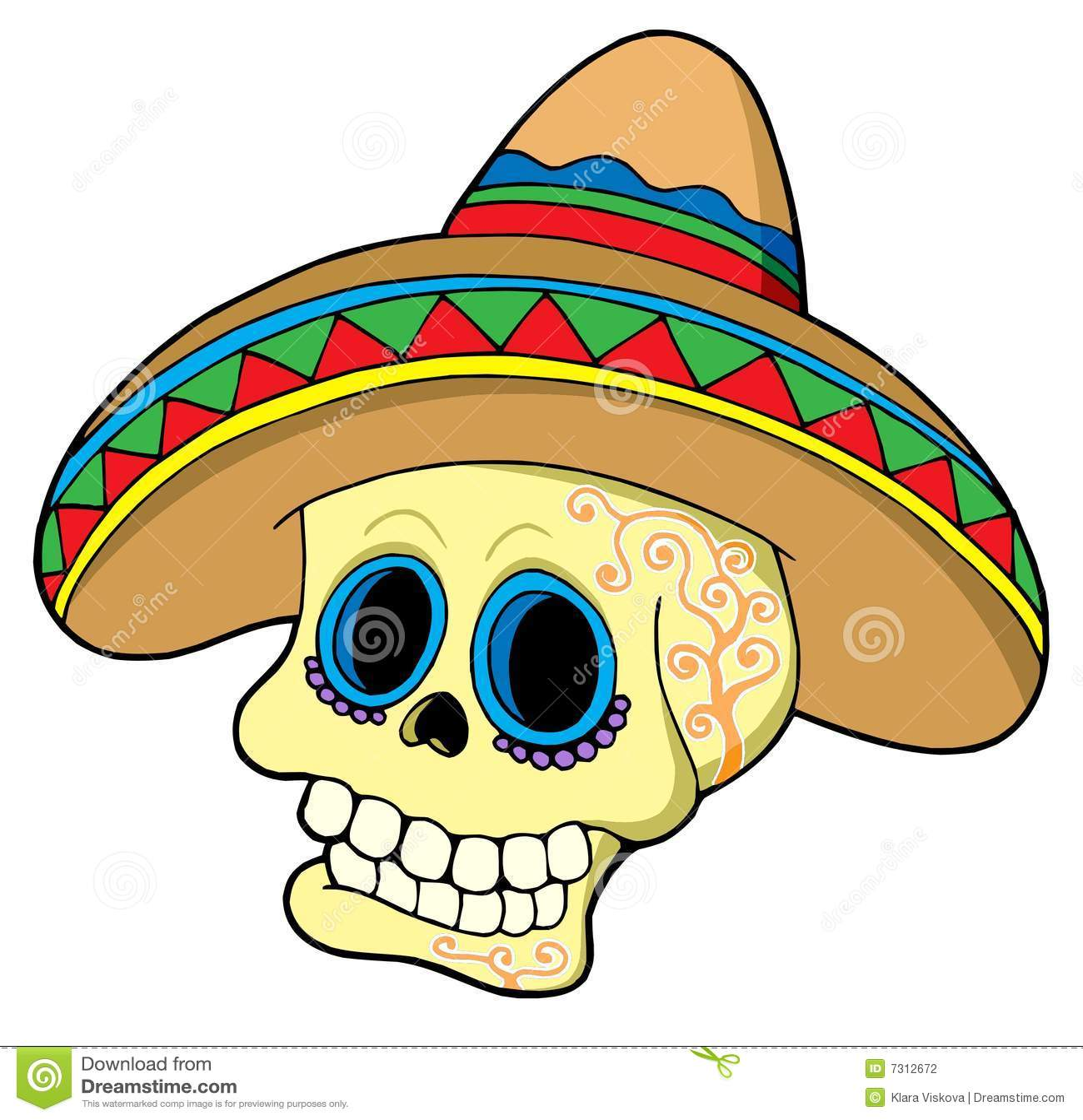Mexican skull in sombrero stock vector. Image of