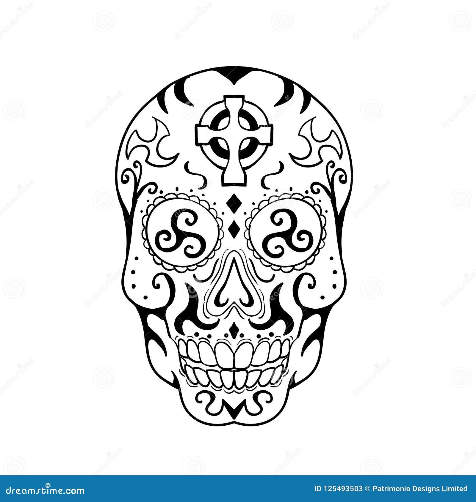 Calavera Tattoo Flash mexican skull triskele celtic cross tattoo stock vector