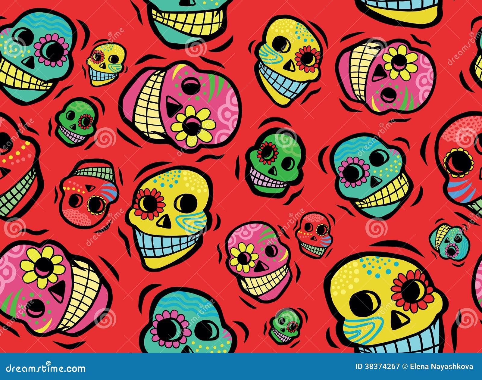 Mexican Skulls Seamless Pattern