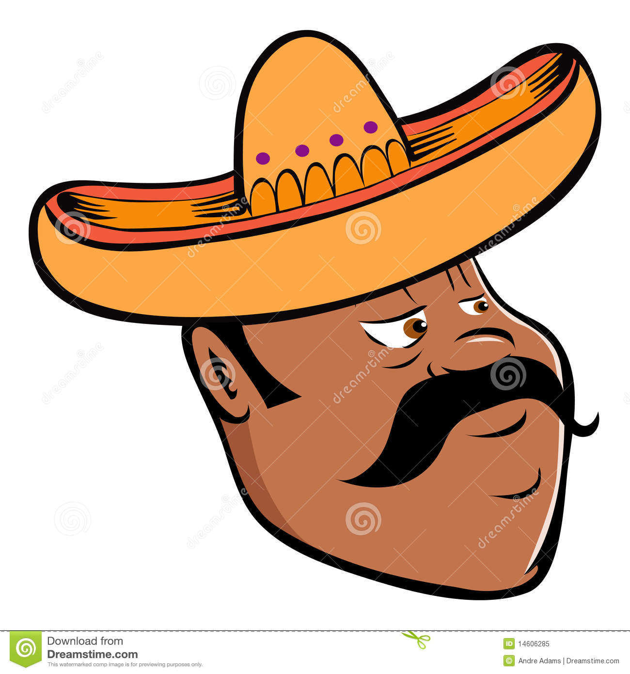Mexican Man Head With Traditional Sombrero:  Mexican Sombrero Hat With Moustache Or Mustache Icons