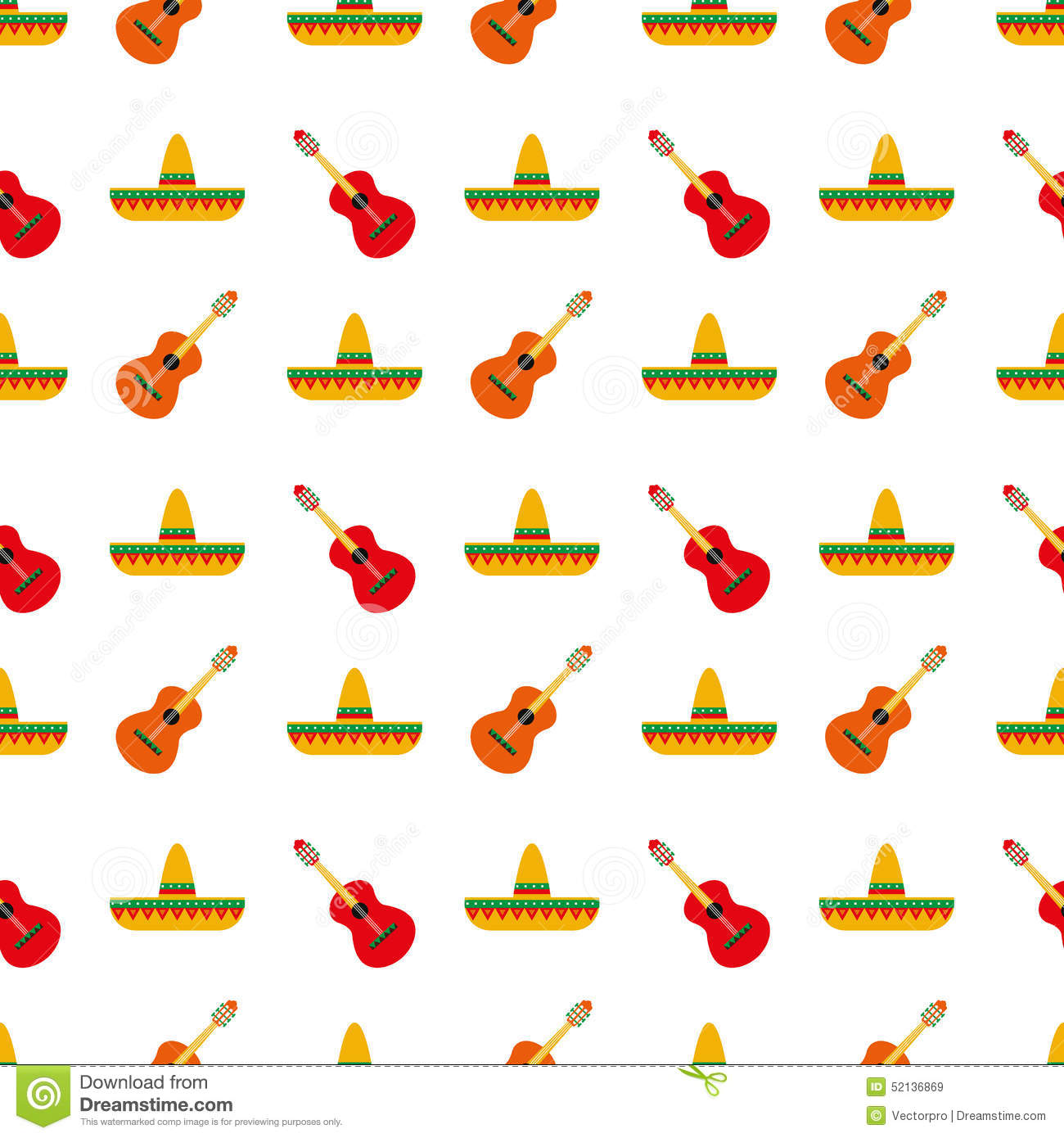 Mexican Sombrero And Guitar Pattern Stock Vector - Illustration of ... 3bf39b1dbd9