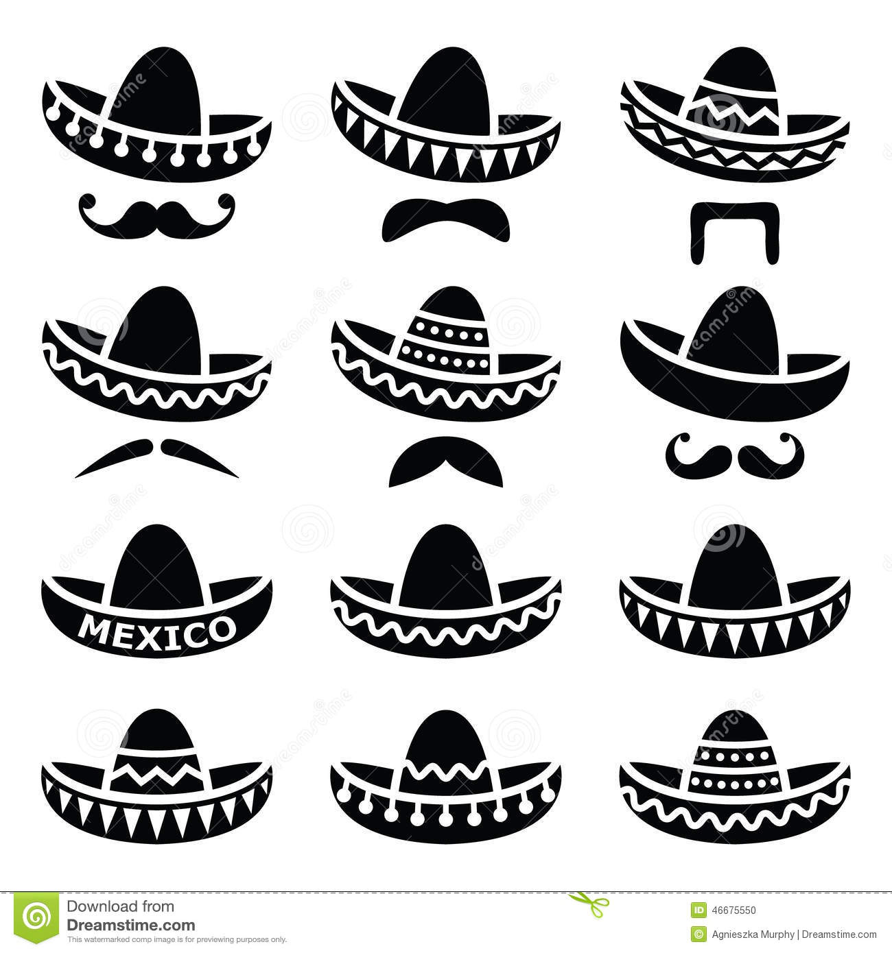 ... Hat With Moustache Or Mustache Icons Stock Vector - Image: 46675550