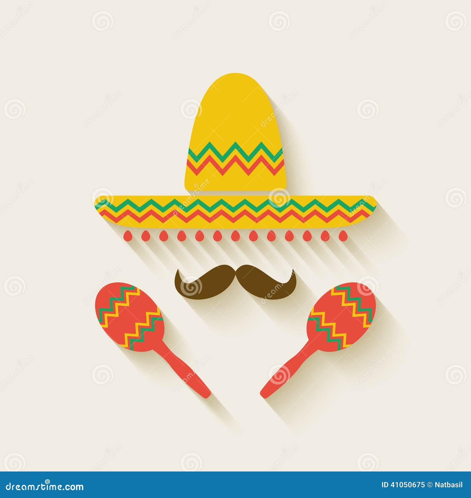 Mexican Sombrero And Maracas Stock Vector Image 41050675