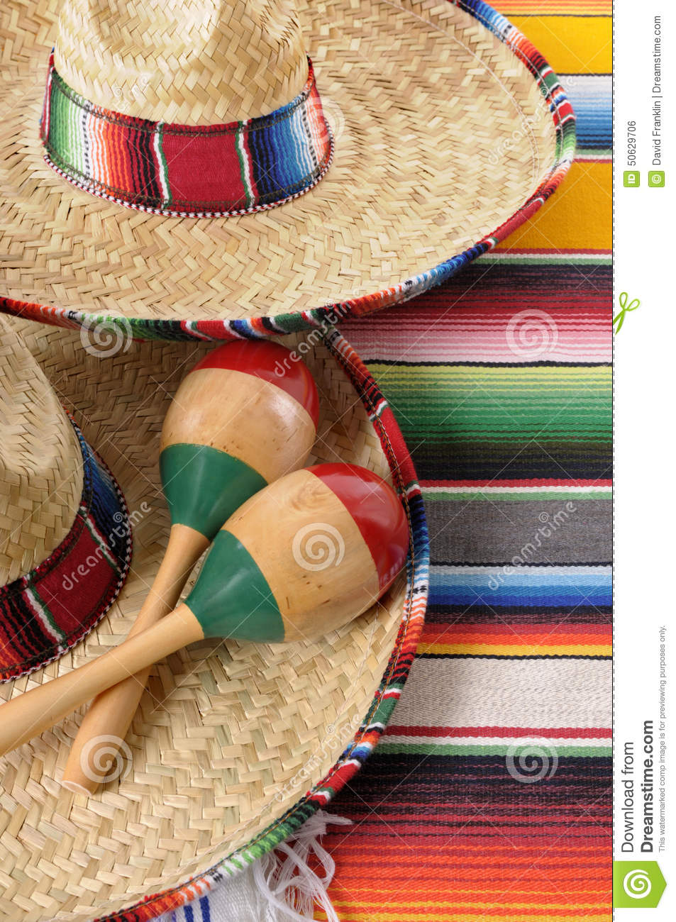 Mexican Sombreros With Maracas And Traditional Serape