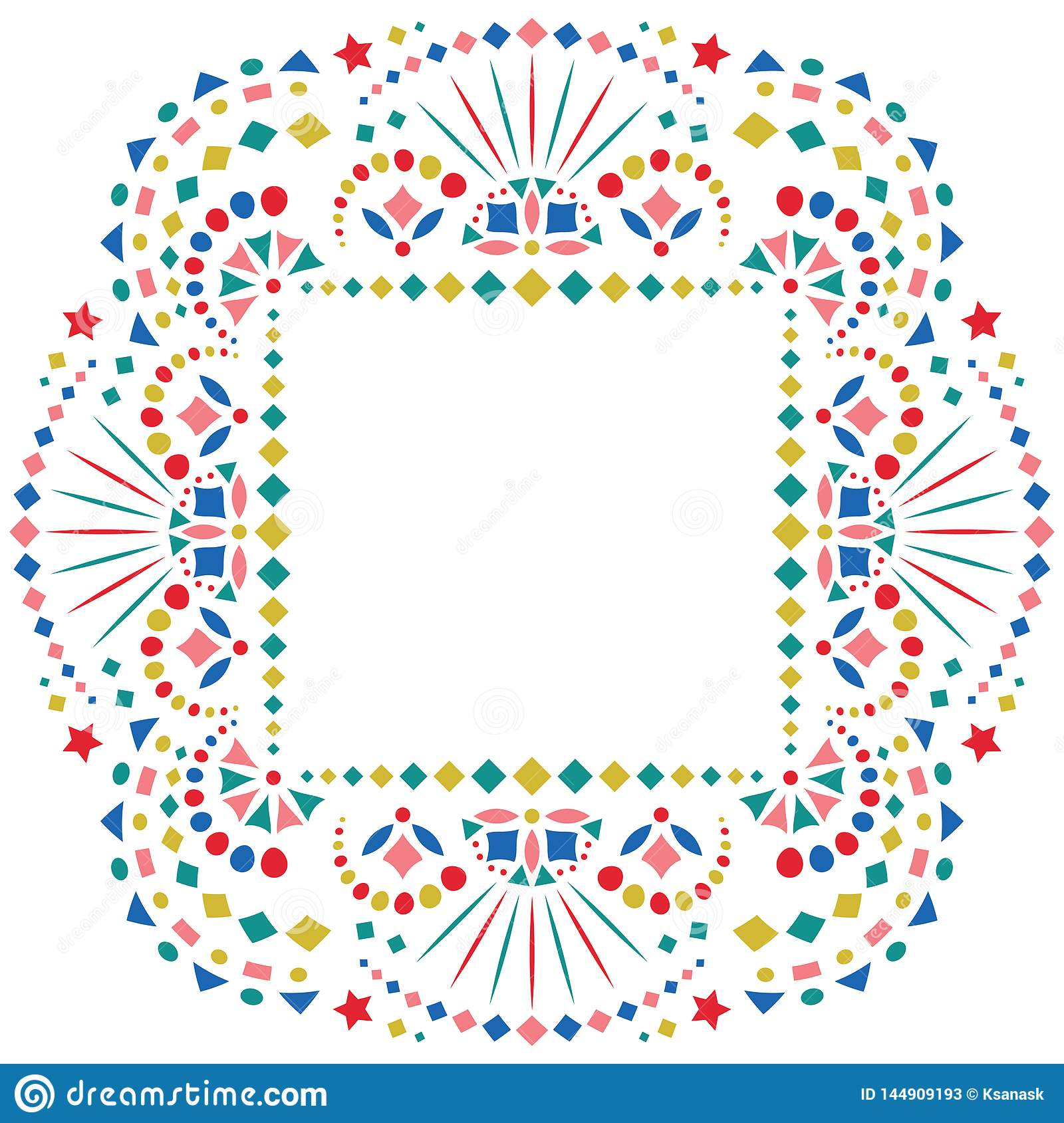 Mexican Style Embroidery Motif For Border Stock Vector