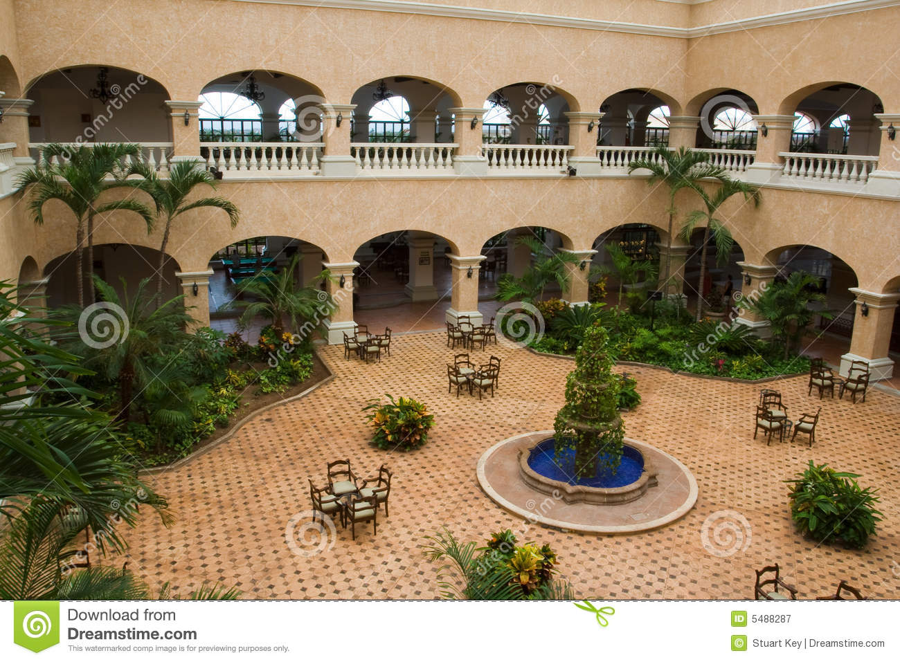 Great Mexican Style Hotel Lobby Royalty Free Stock Photography