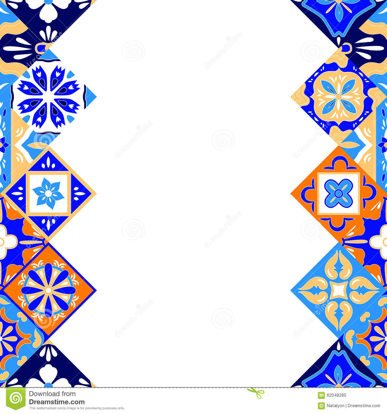 Mexican Stylized Talavera Tiles Seamless Pattern In Blue Orange And - Black and white talavera tile