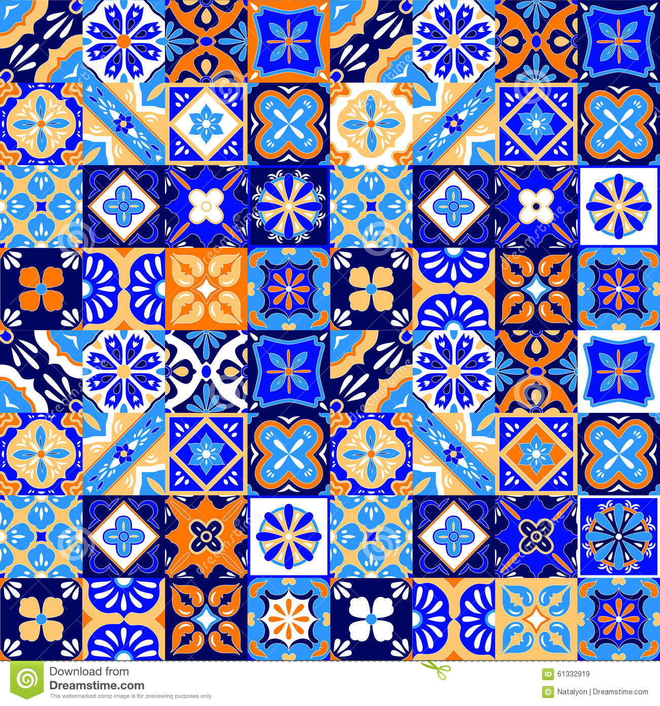 Mexican stylized talavera tiles seamless pattern in blue orange and white vector stock vector