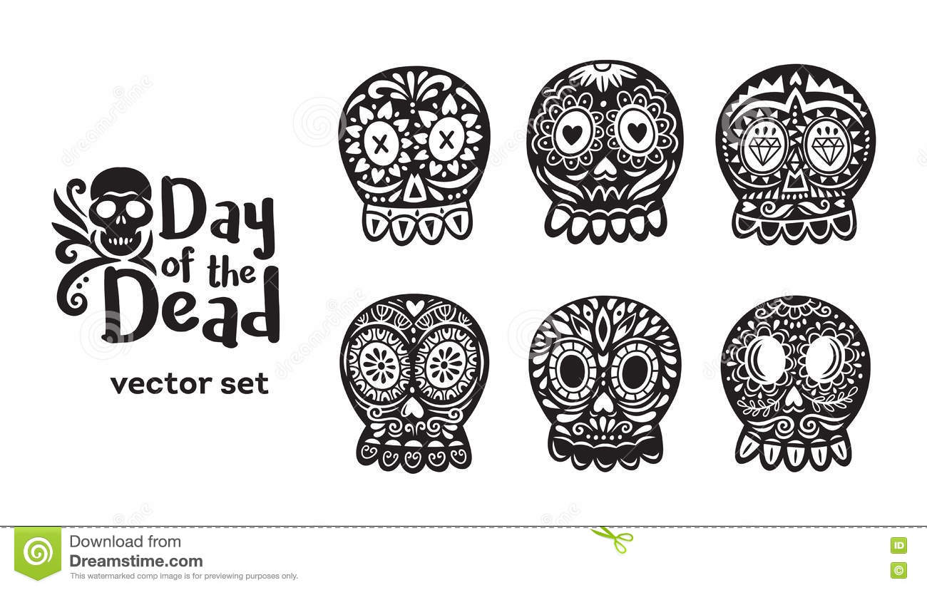 e619eac011 Floral ornamental skulls. Set of black and white vector illustrations. More  similar stock illustrations