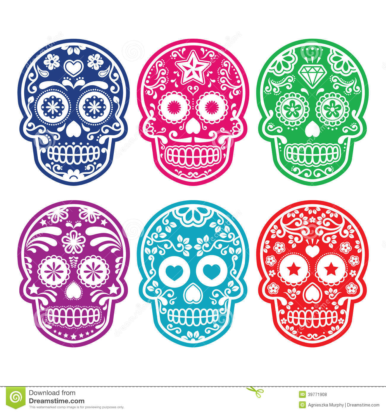 Mexican Sugar Skull Dia De Los Muertos Colorful Icons Set