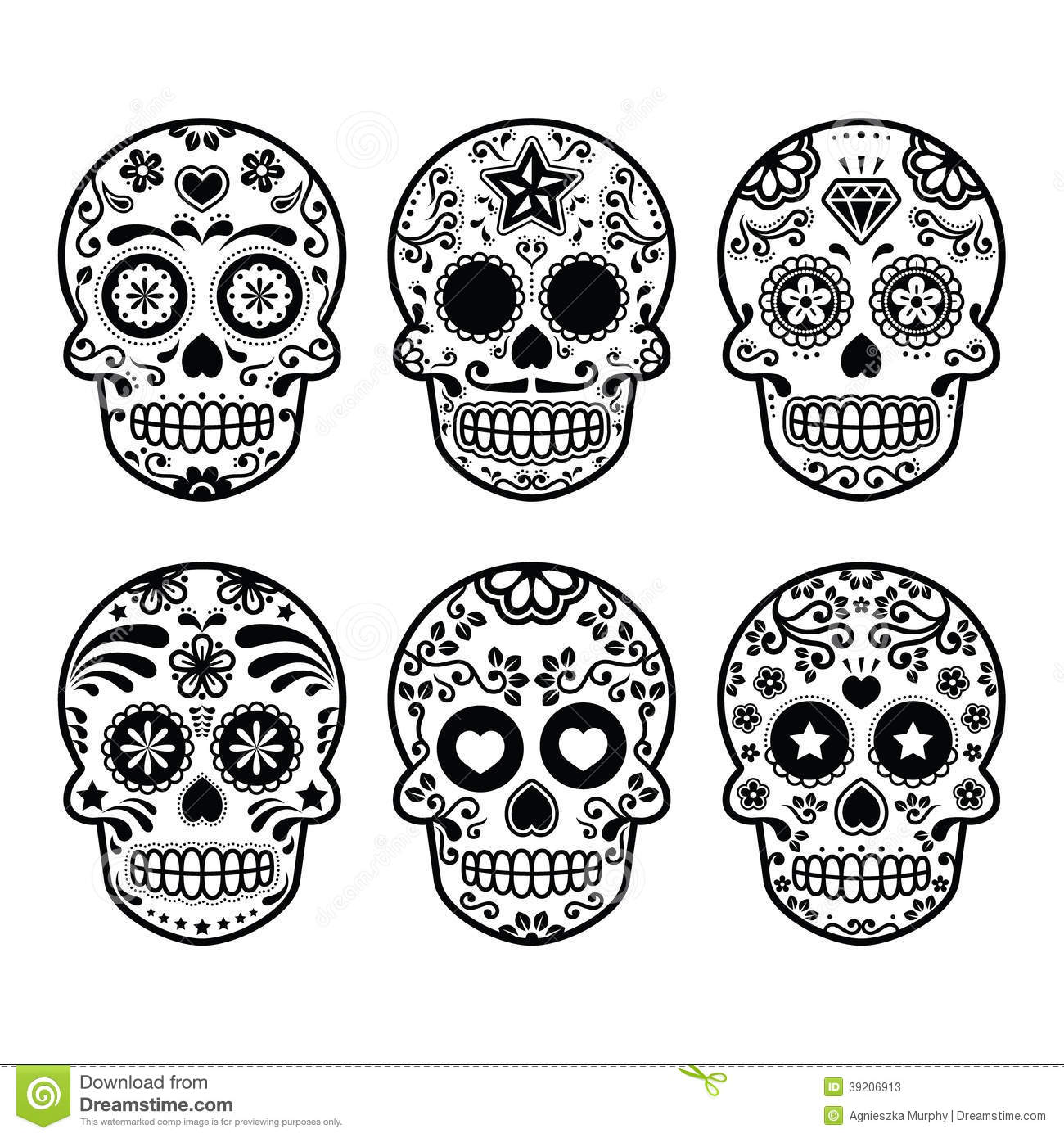 Six sugary Day of the Dead Skulls