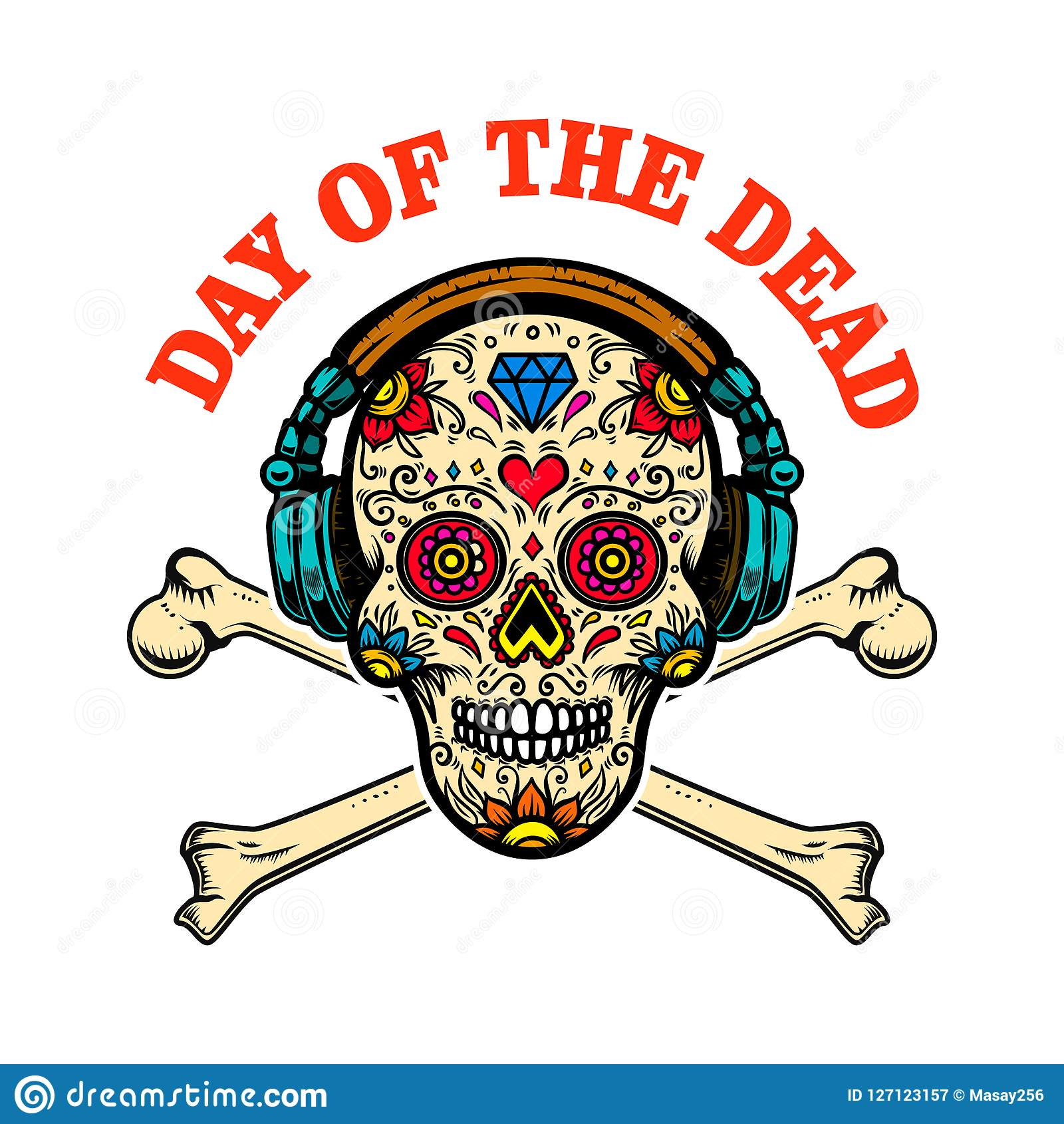 Mexican Sugar Skull With Headphones And Crossbones Day Of The Dead