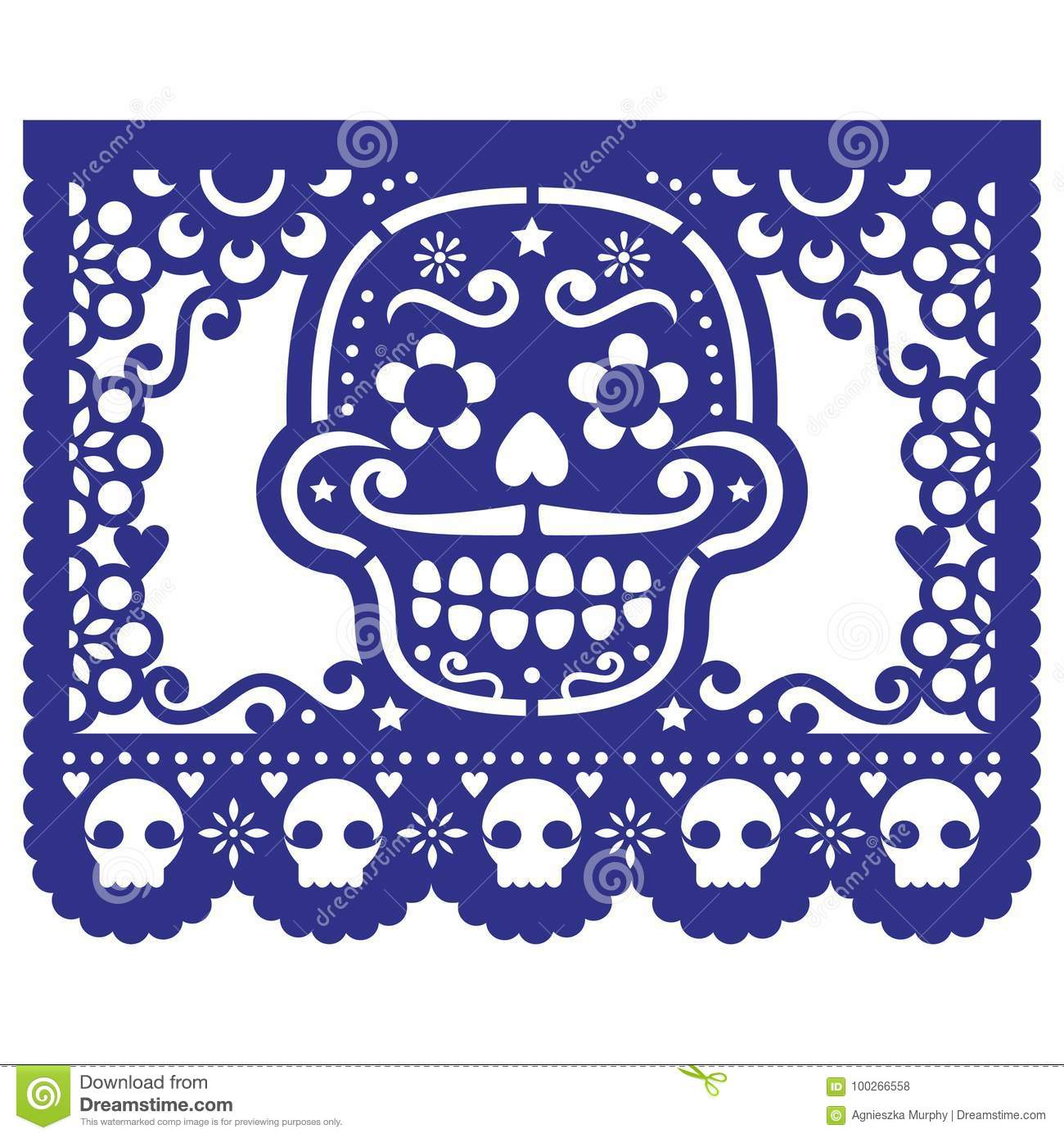 mexican papel picado vector template design set  cutout