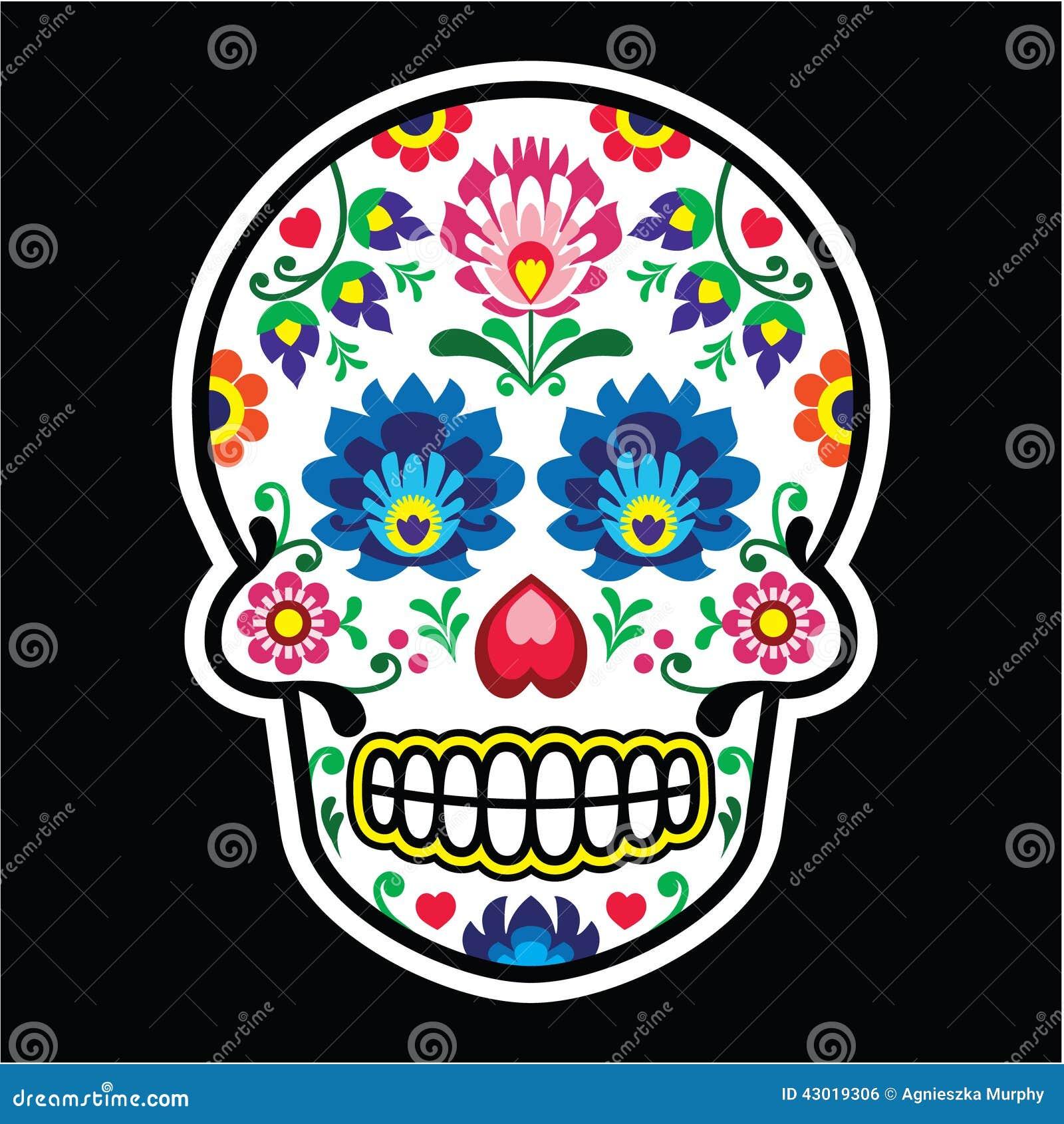 Mexican Sugar Skull Polish Folk Art Style Wzory