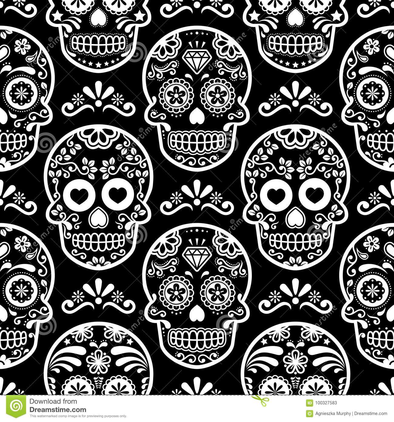 Mexican Sugar Skull Seamless Pattern On Black Halloween White