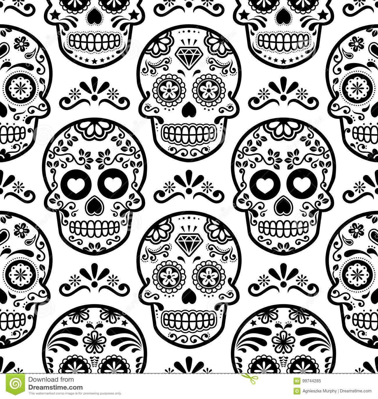 Mexican Sugar Skull Seamless Pattern Halloween Candy Skulls