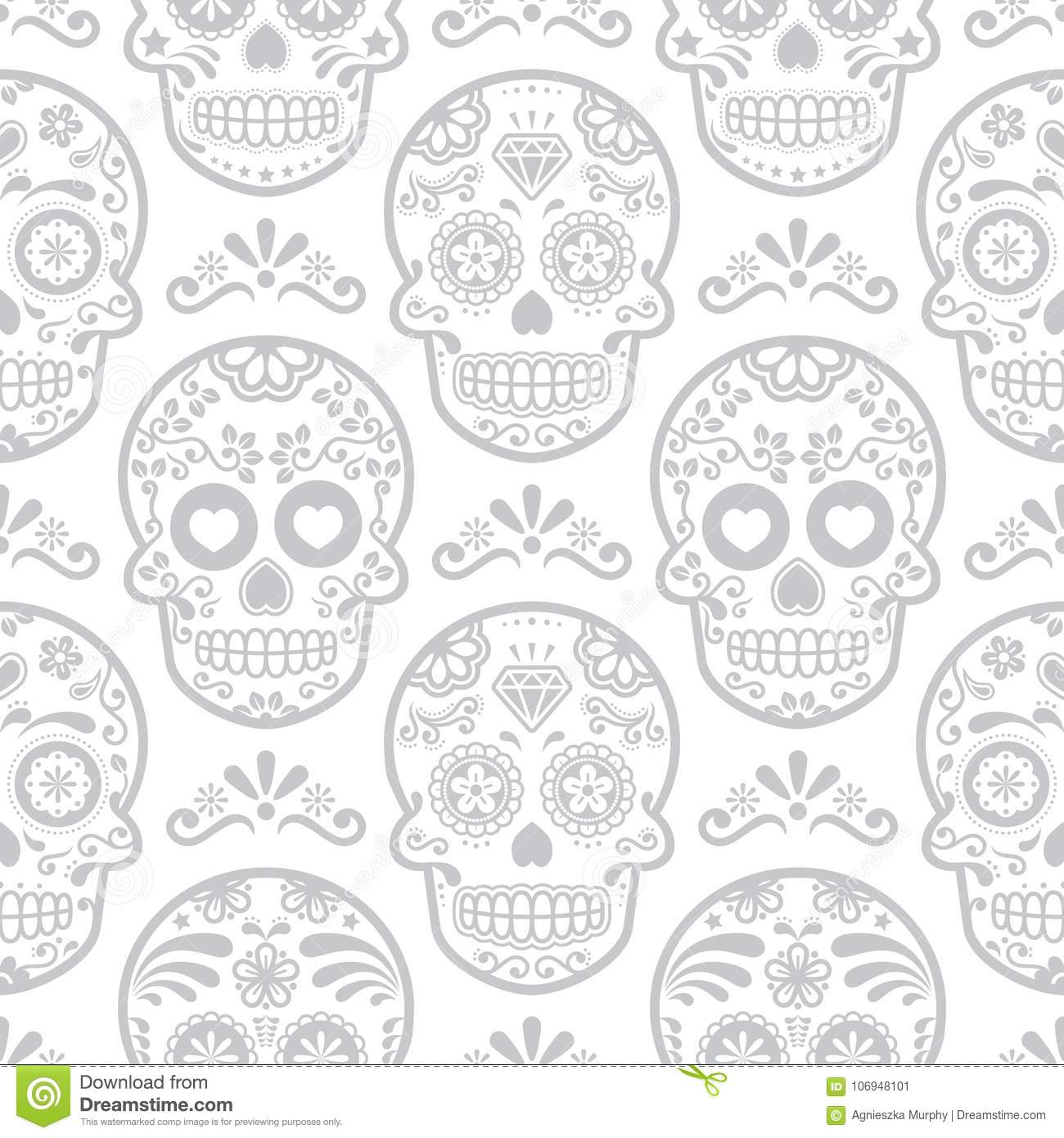 Mexican Sugar Skull Vector Seamless Pattern Halloween Candy