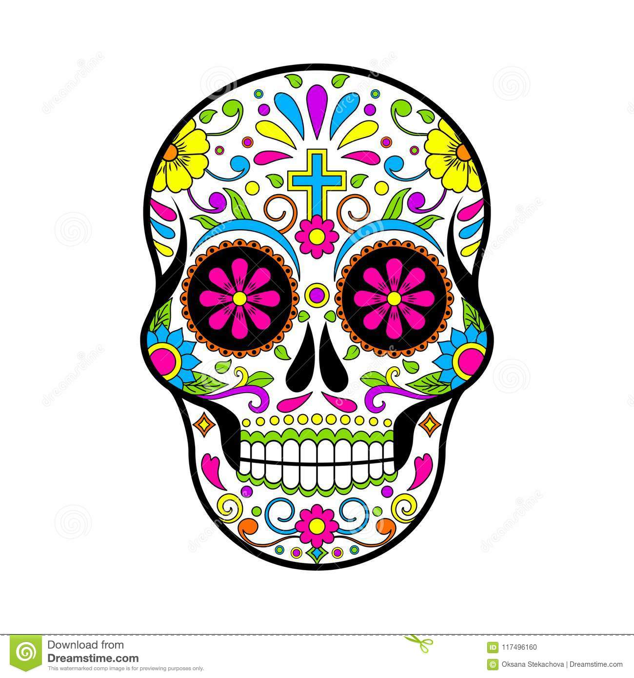 Mexican Sugar Skulls Day Of The Dead Illustration On White