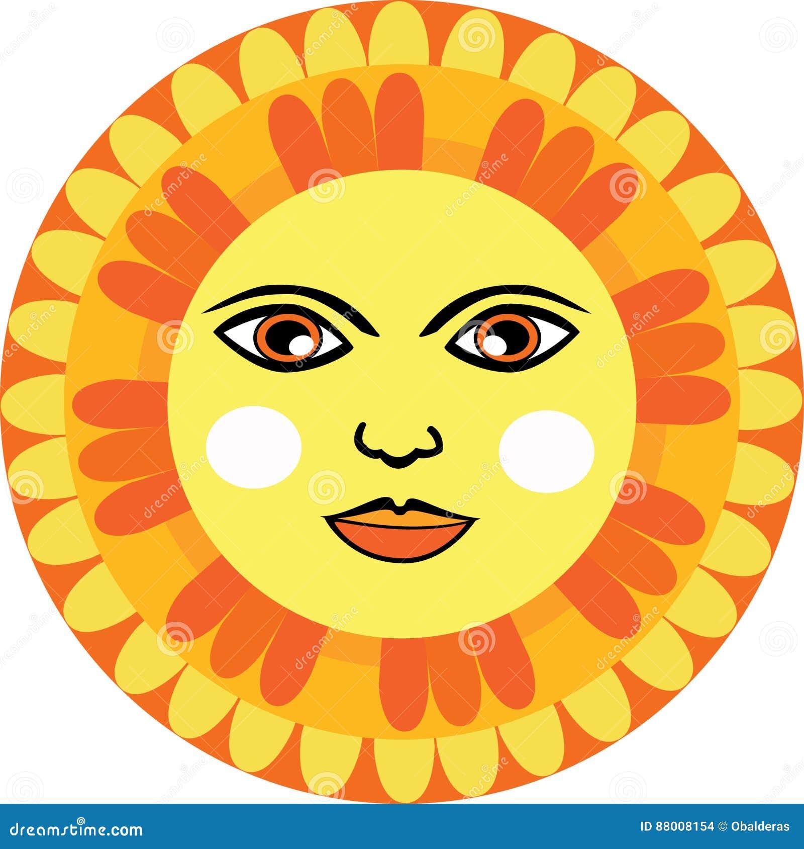 Mexican Sun face stock vector. Illustration of mexico - 88008154