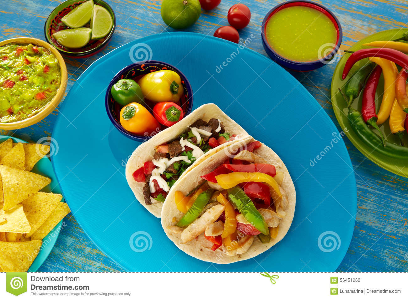 Mexican Tacos Chicken Fajita And Beef Res Taco Stock Photo - Image ...