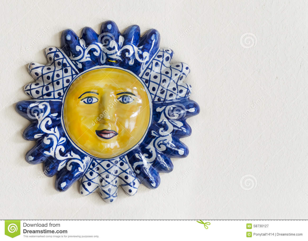 Mexican Talavera Ceramic Sun Face With Room For Text Stock
