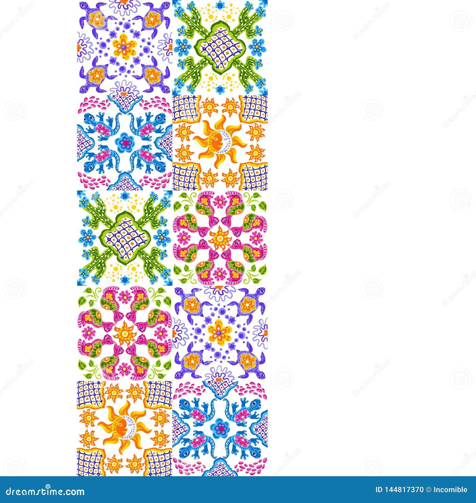 Mexican talavera ceramic tile pattern. Cute naive art items.