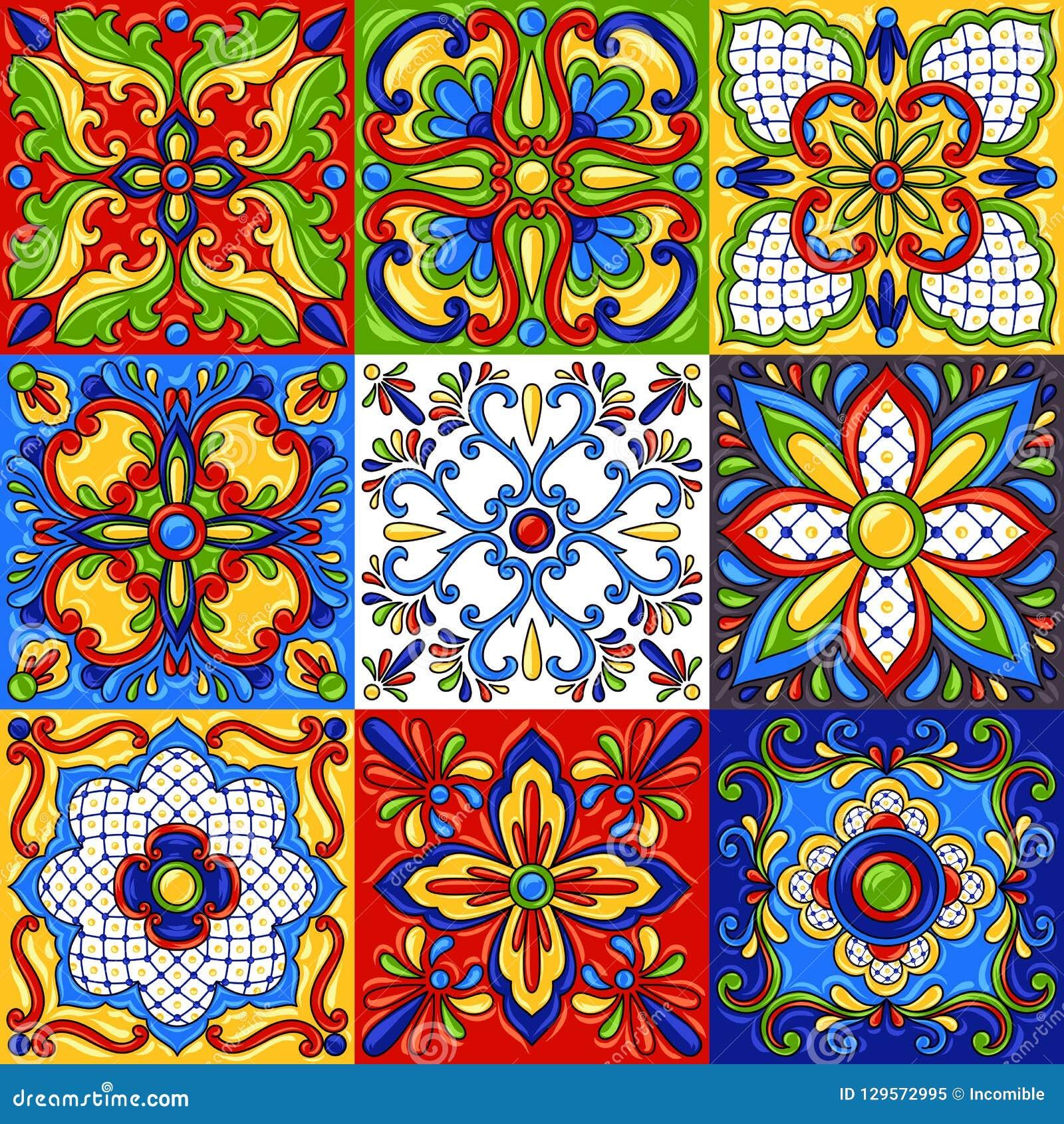 Mexican talavera ceramic tile seamless pattern.