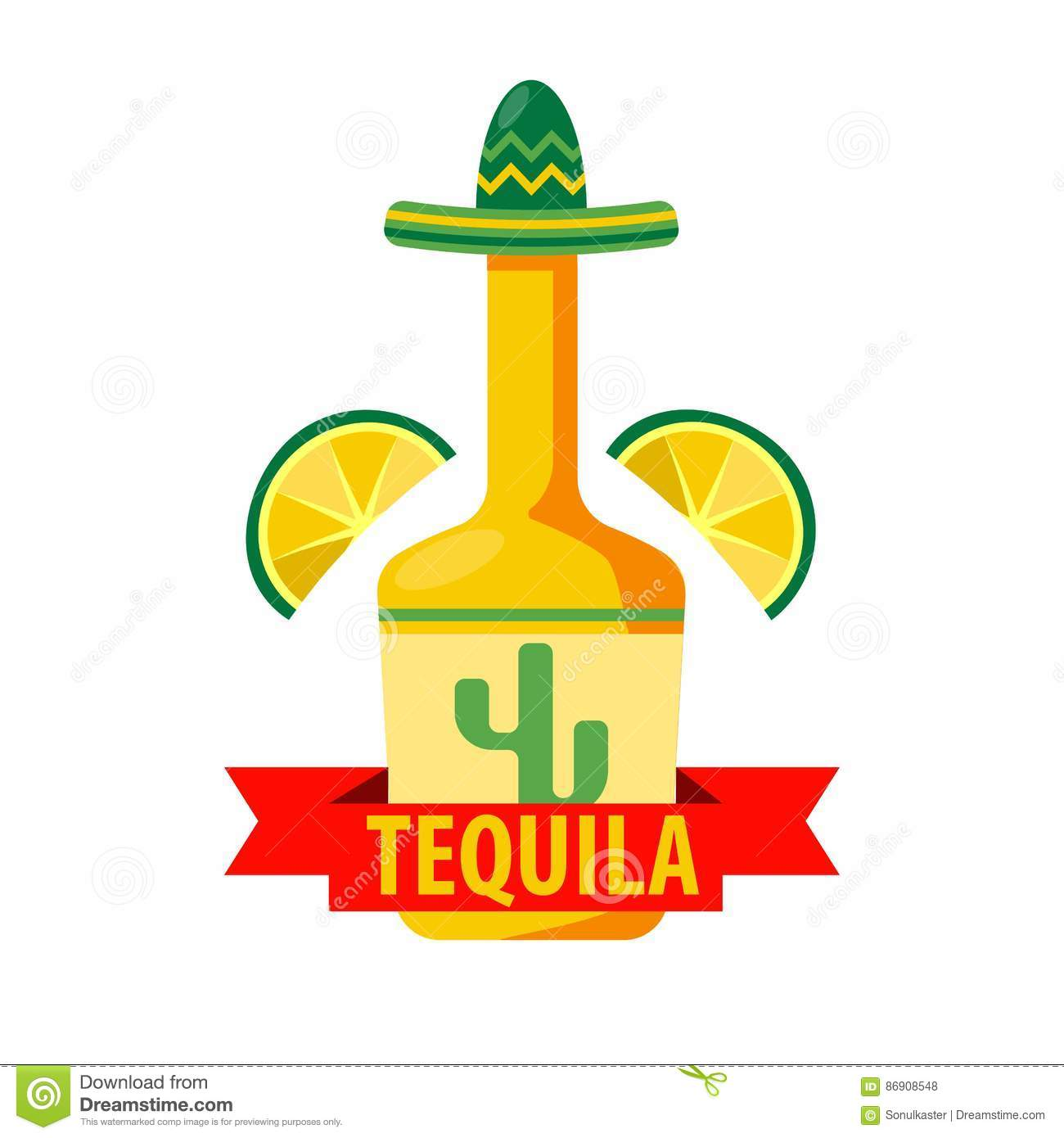Mexican Tequila Bar Vector Icon Template Of Bottle In
