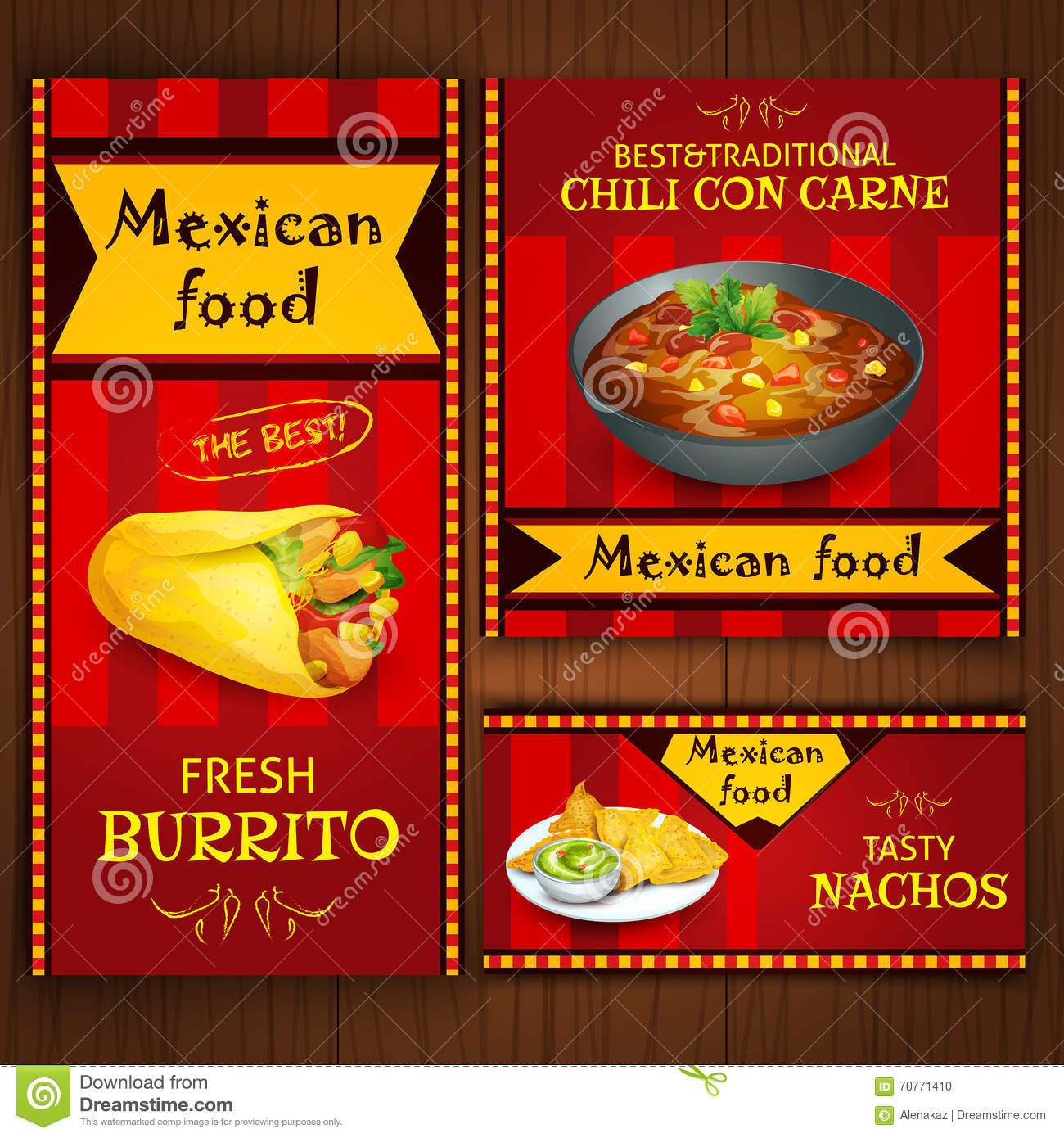 Mexican traditional food on flat banners stock vector for Food bar 36 cafe