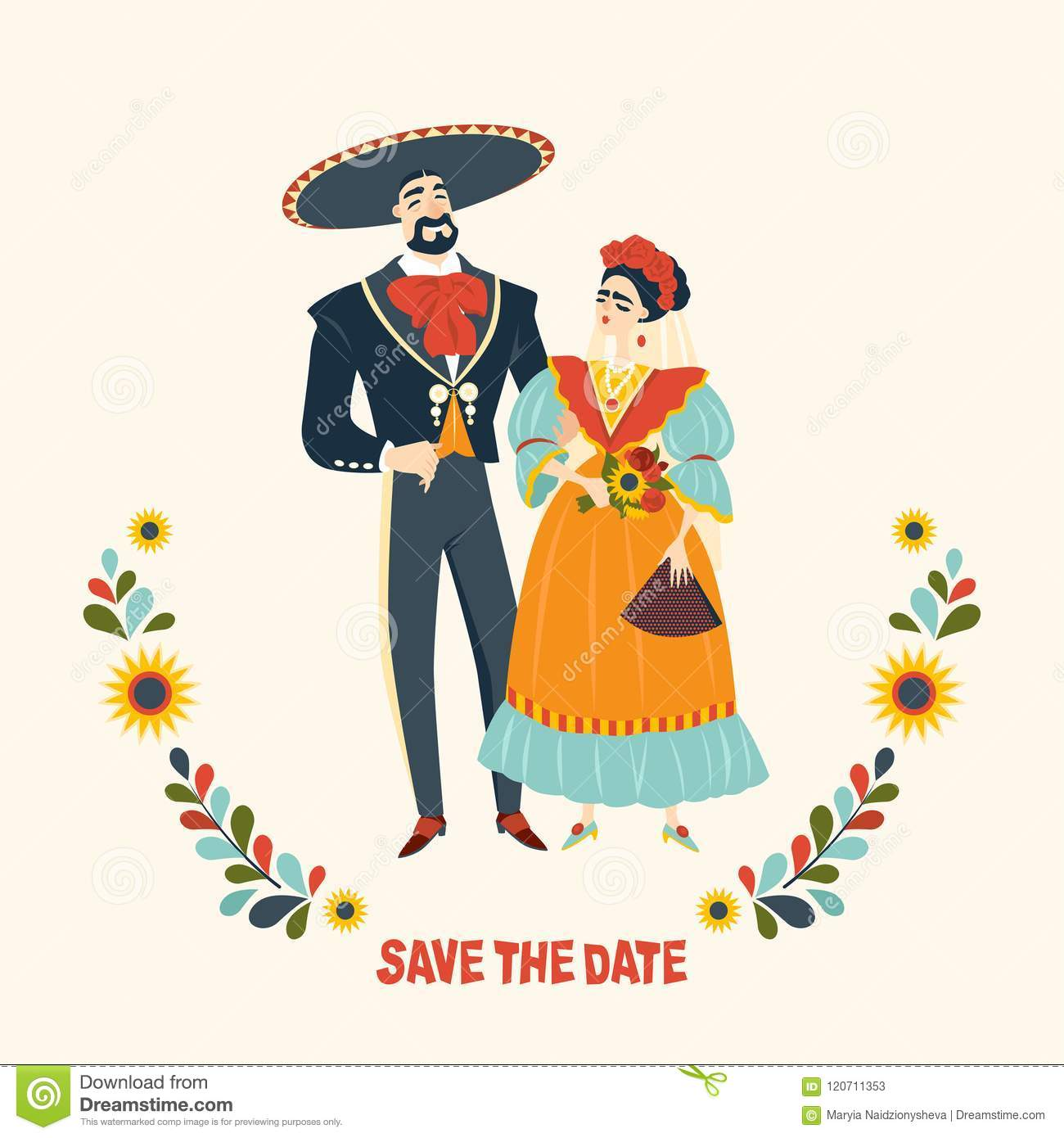 d96e6d13da4 Mexican wedding. Beautiful couple in love in traditional Mexican clothes.