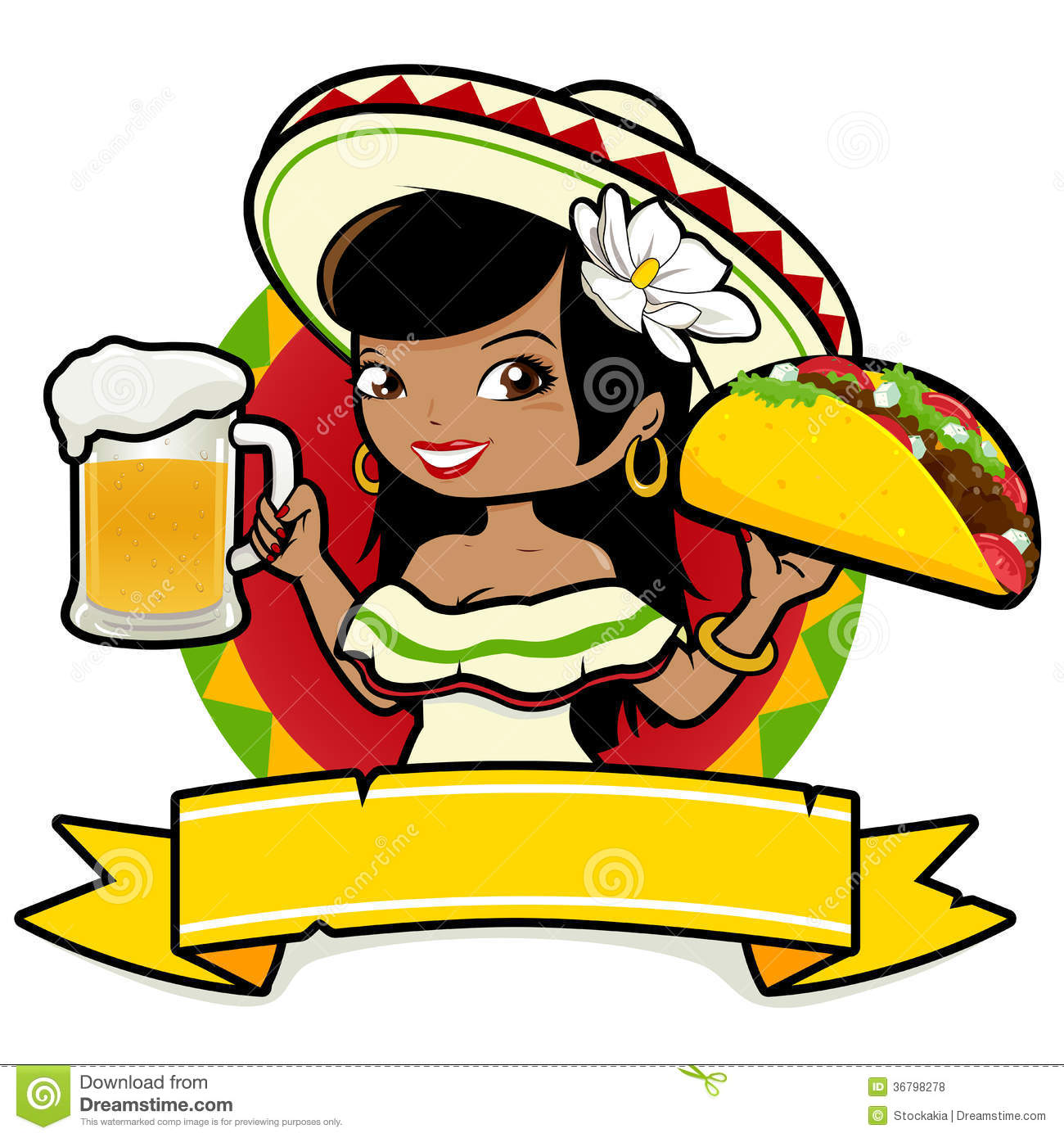 Mexican Woman Waitress Holding Beer And Taco Royalty Free Stock Photos ...
