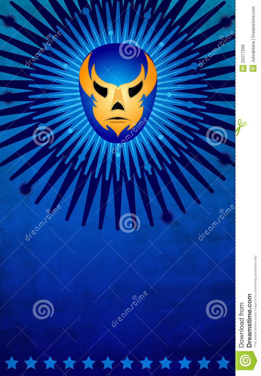 mexican wrestler mask poster card template stock illustration