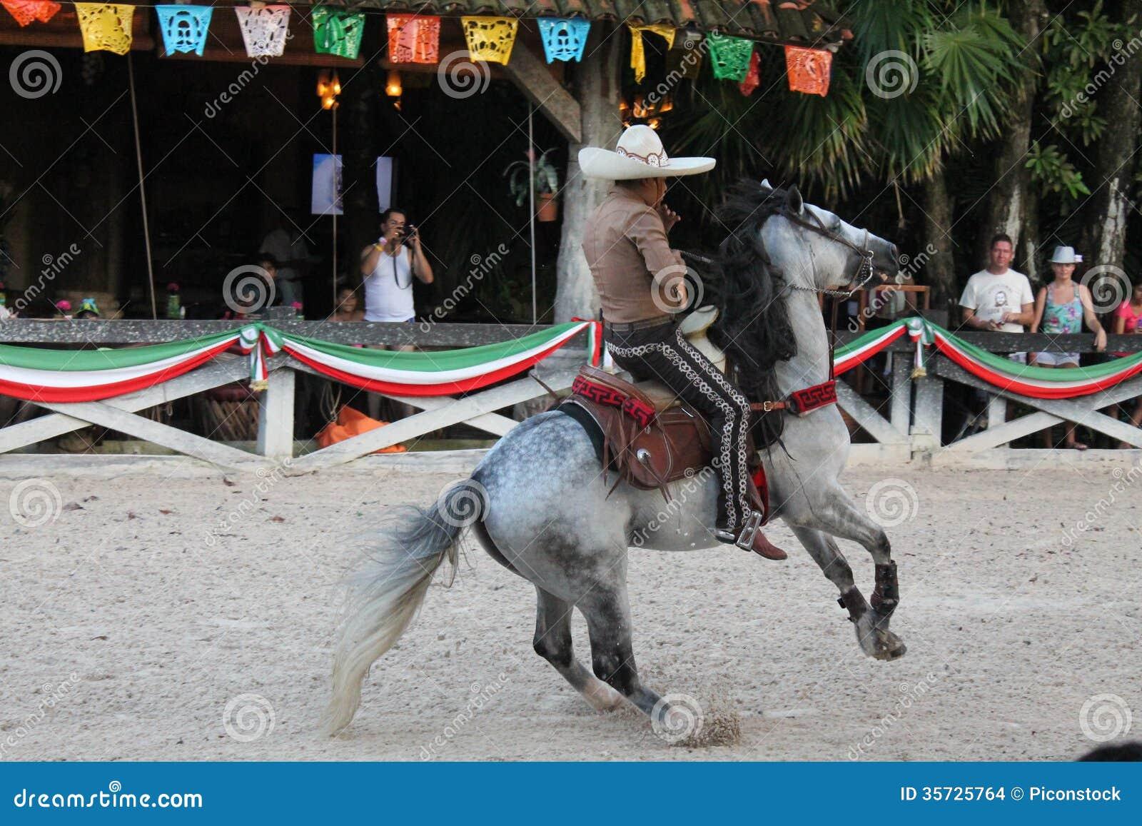 Mexicansk cowboy som visar hans akrobatiska expertis
