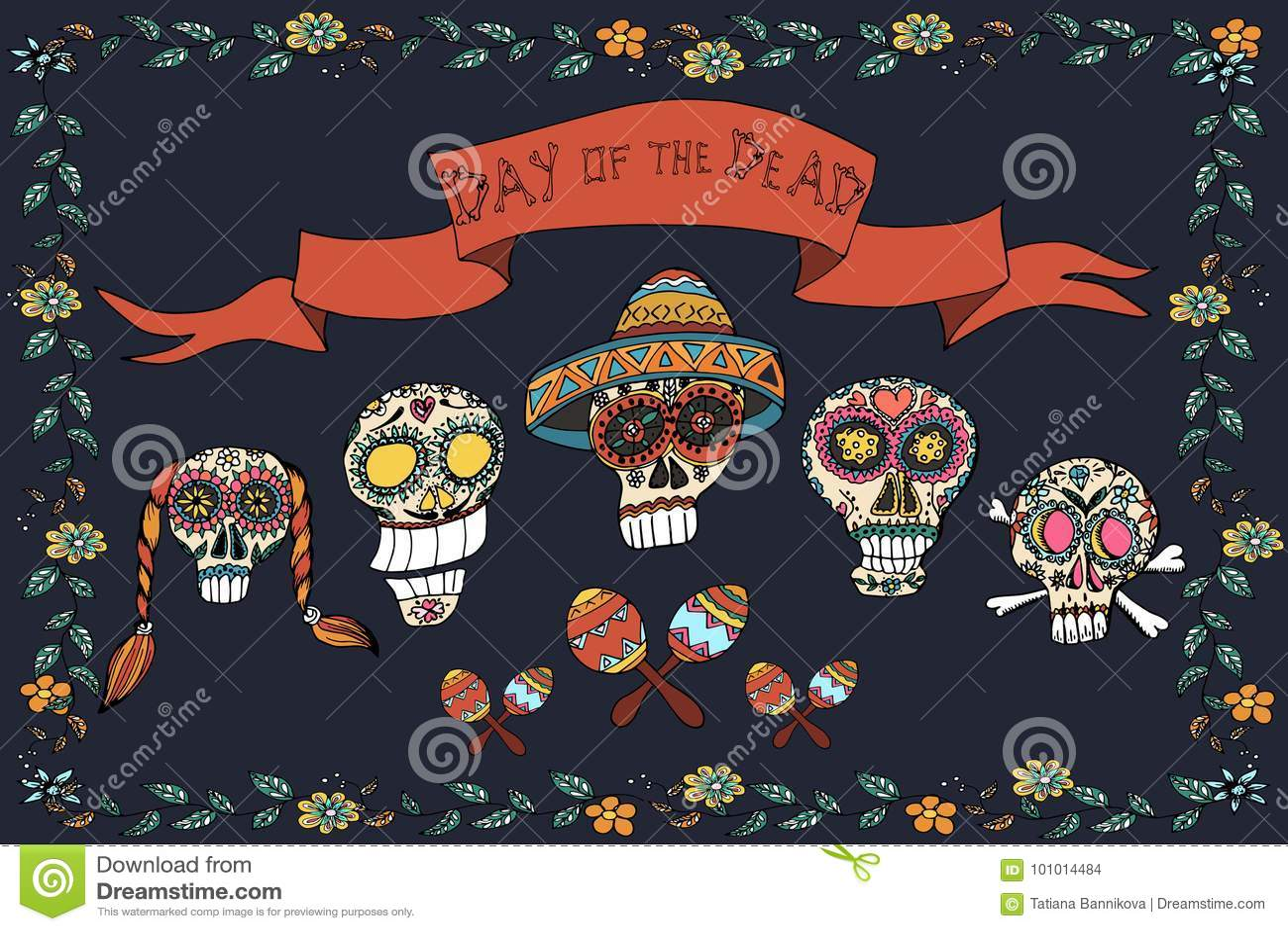Mexicansk dag av den döda affischen illustratören för illustrationen för handen för borstekol gör teckningen tecknade som look pa
