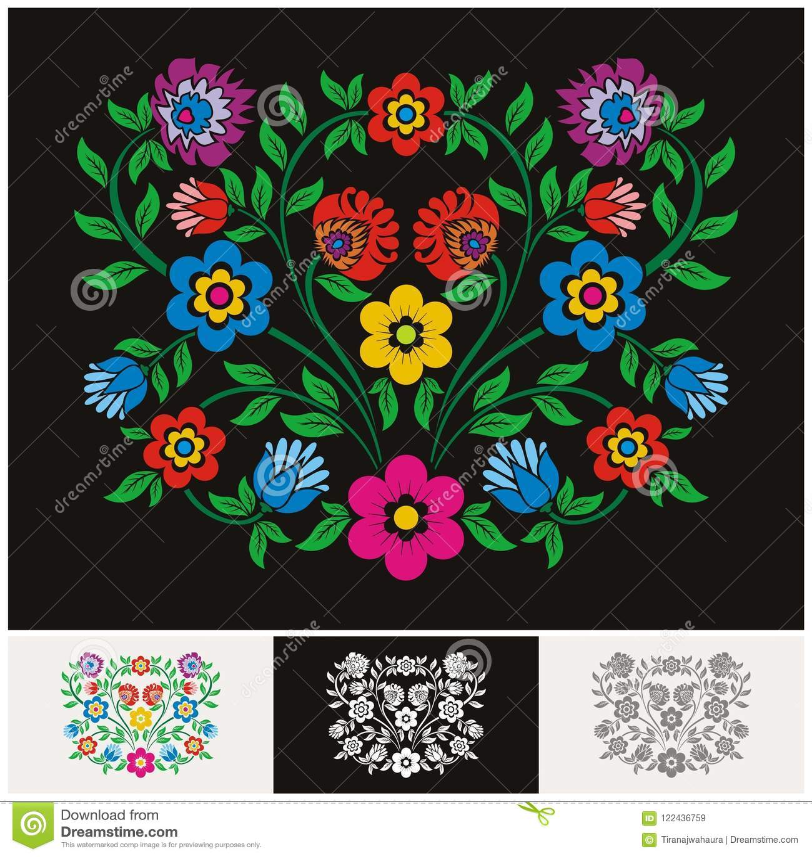 Mexicansk etnisk blom- vektor med älskvärd och förtjusande design