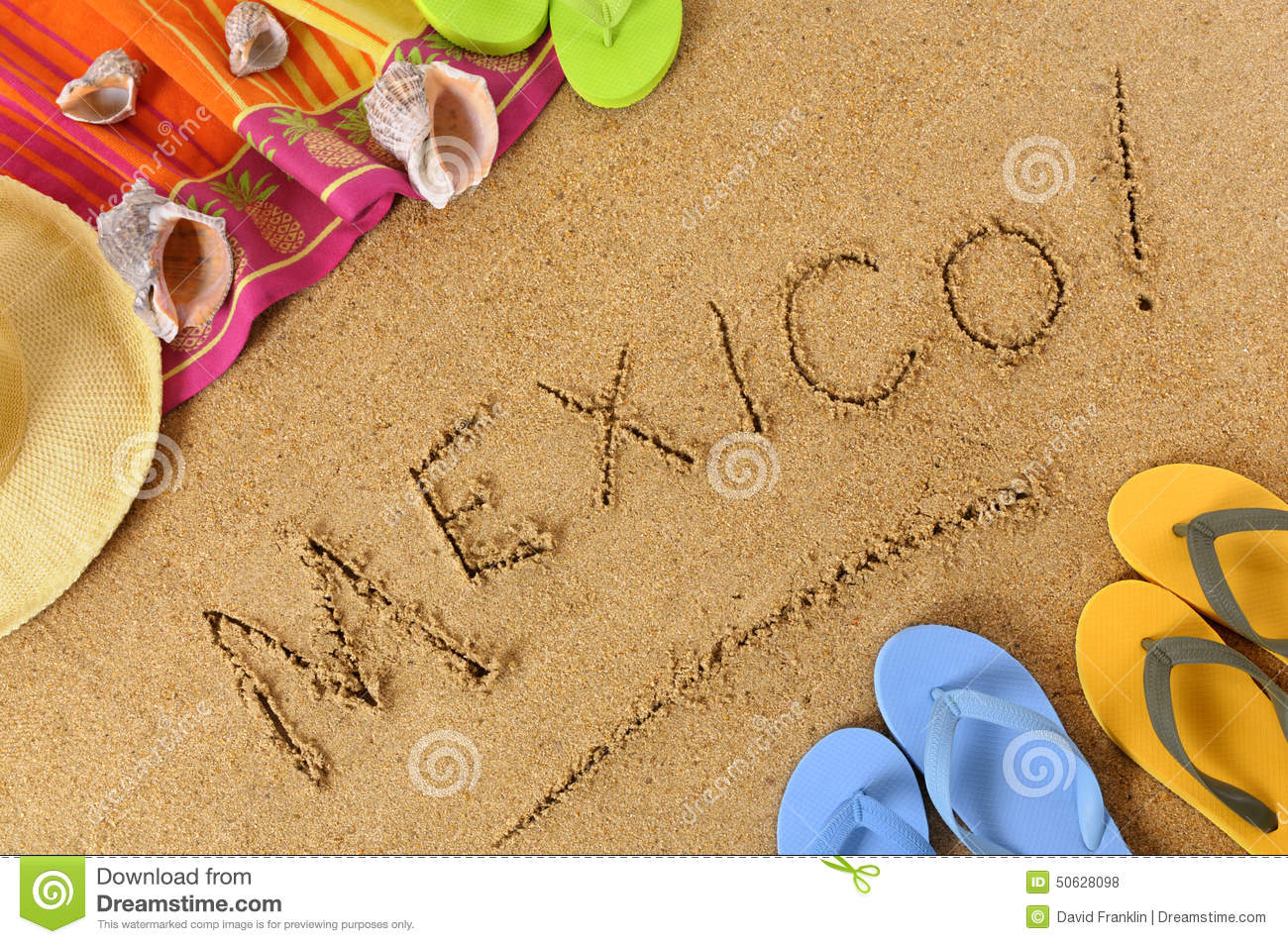 mexico mexican beach sand word writing stock photo image 50628098