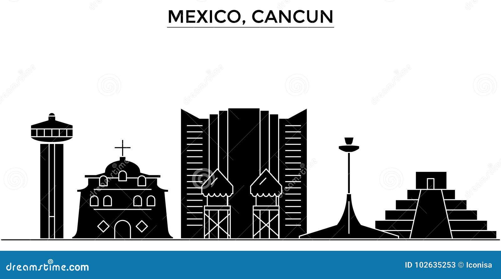 Mexico Cancun Architecture Vector City Skyline Travel Cityscape